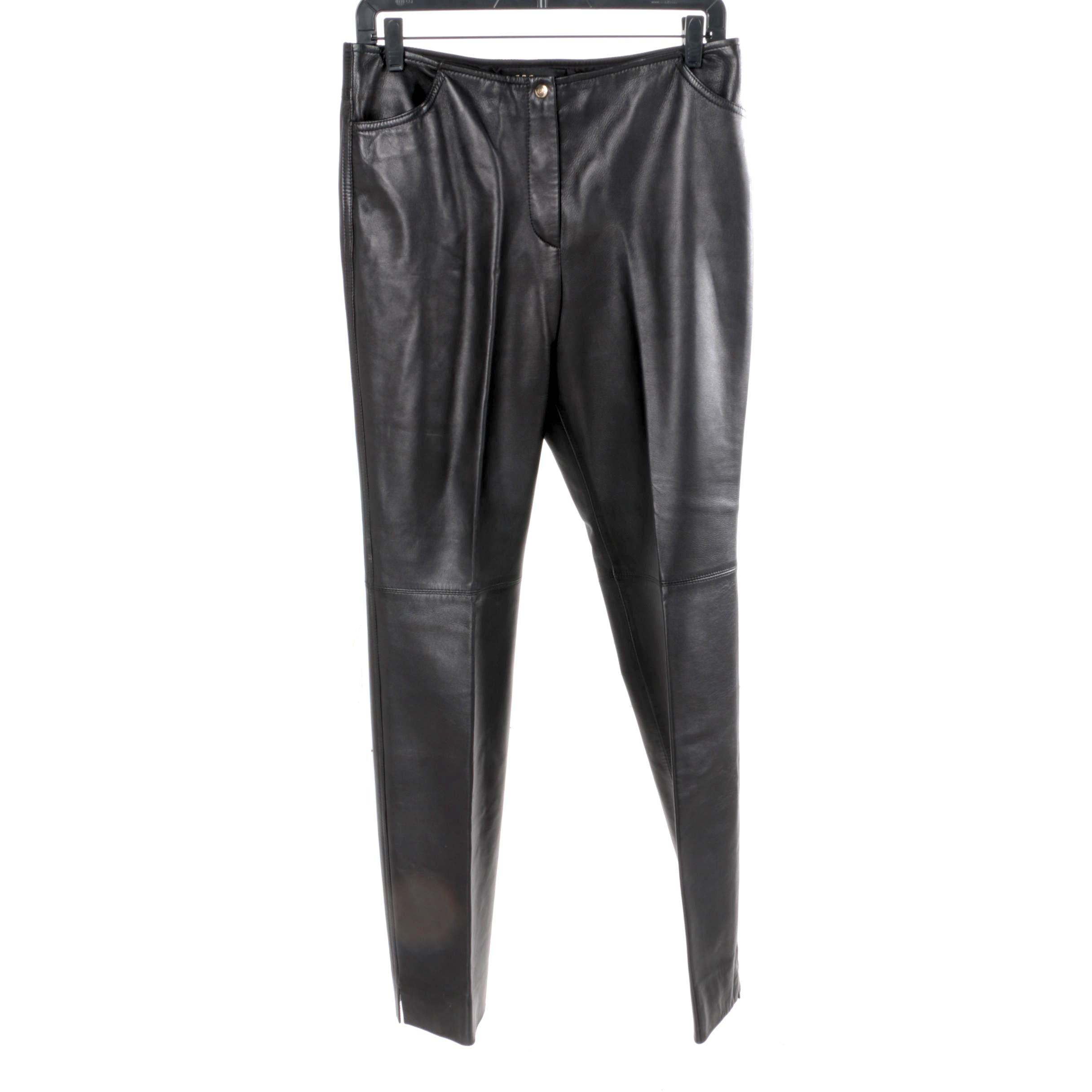 Women's Escada Black Lambskin Nappa Pants