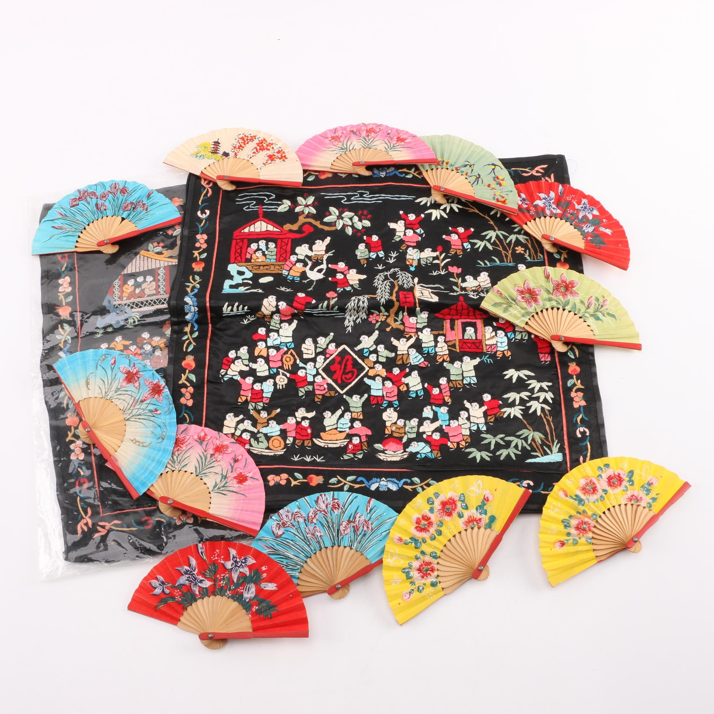 Chinese Embroidered Silk Pillow Covers with Paper Fans