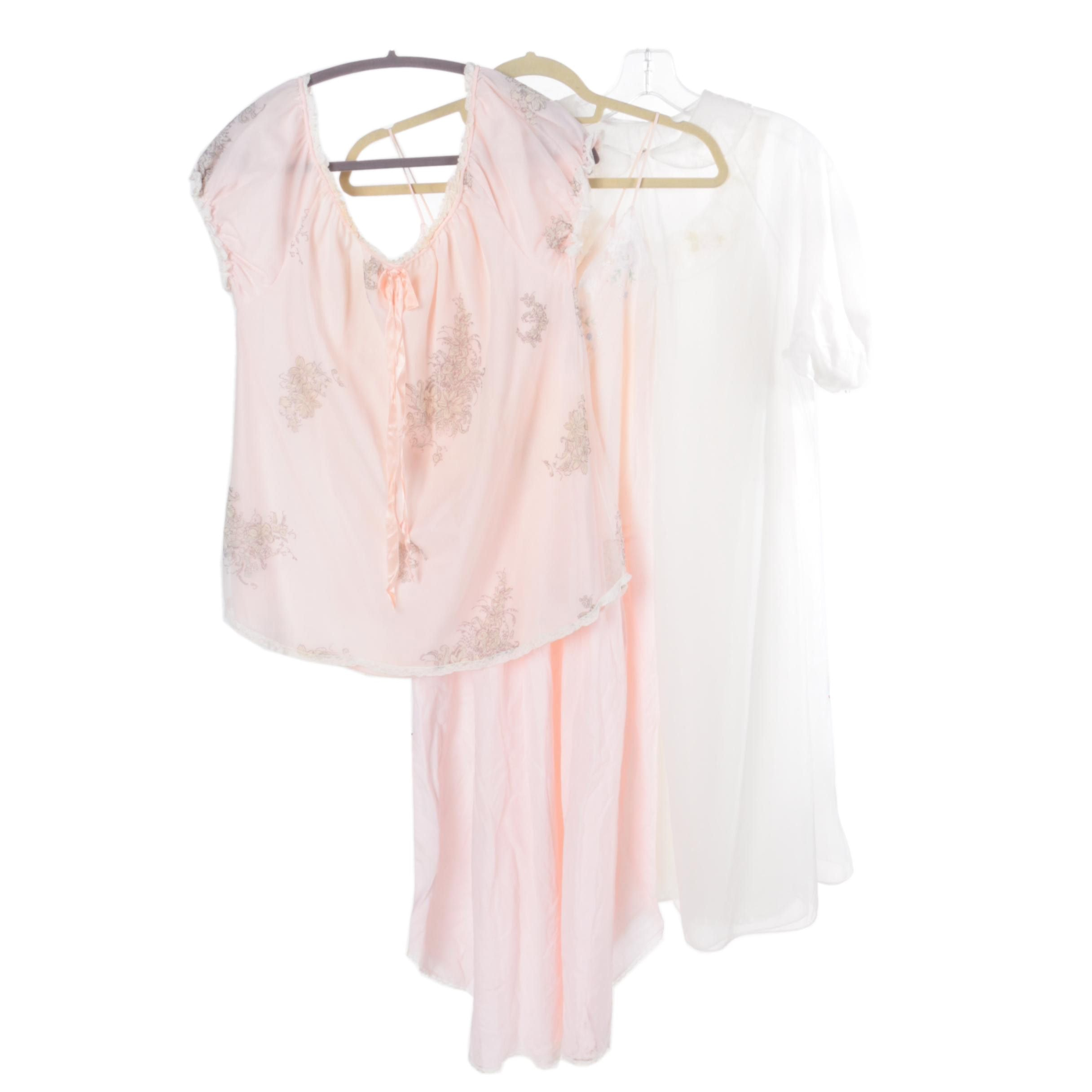 Women's Pink and White Nightgowns and Pajama Top