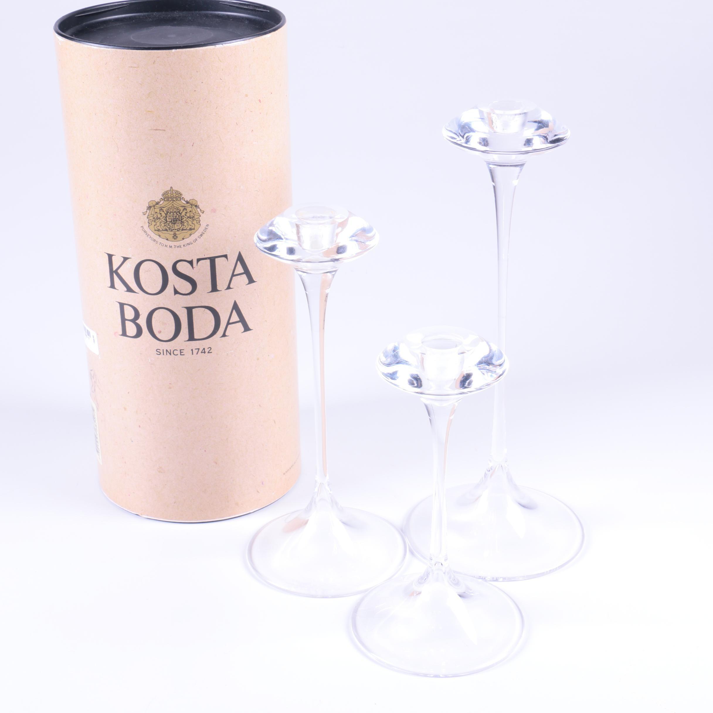 """Set of Kjell Engman for Kosta Boda """"Fanfare"""" Candlesticks"""