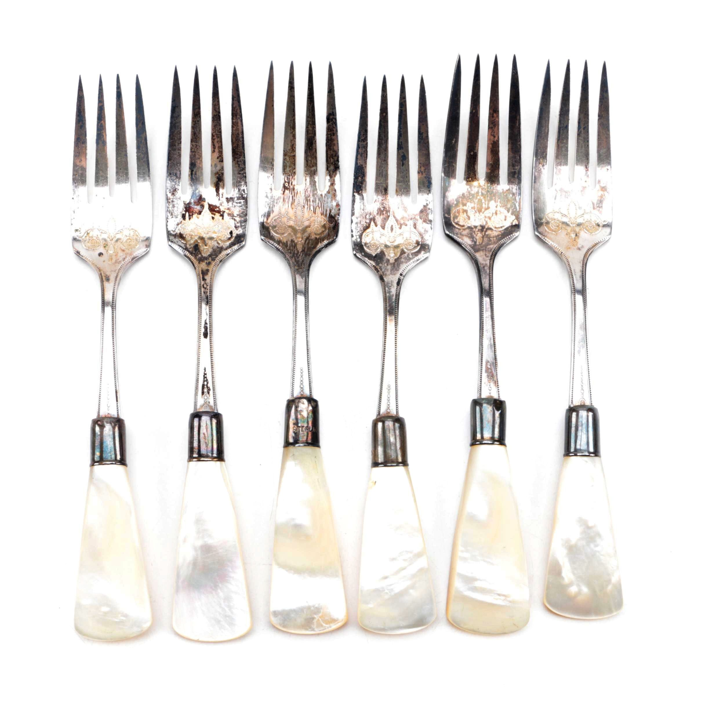 Mother of Pearl Handled Forks with Sterling Silver Bolsters