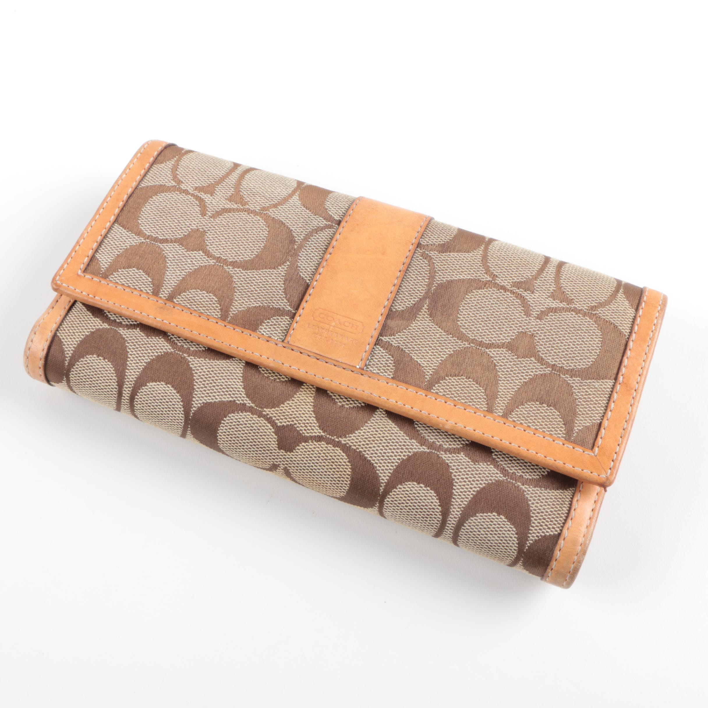 Coach Signature Jacquard and Leather Wallet