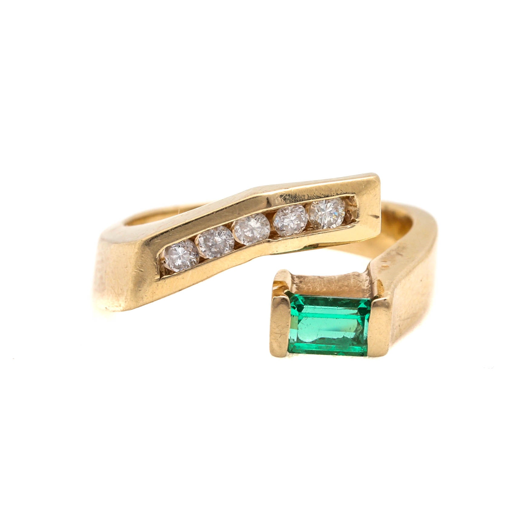 14K Yellow Gold Emerald and Diamond Contemporary Bypass Ring