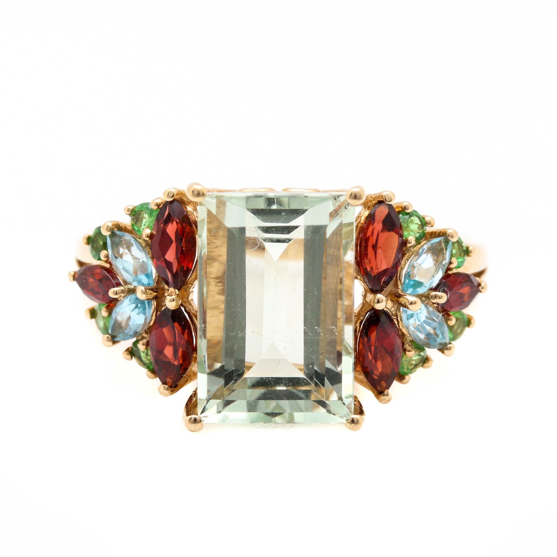 14K Yellow Gold Praseolite and Gemstone Ring