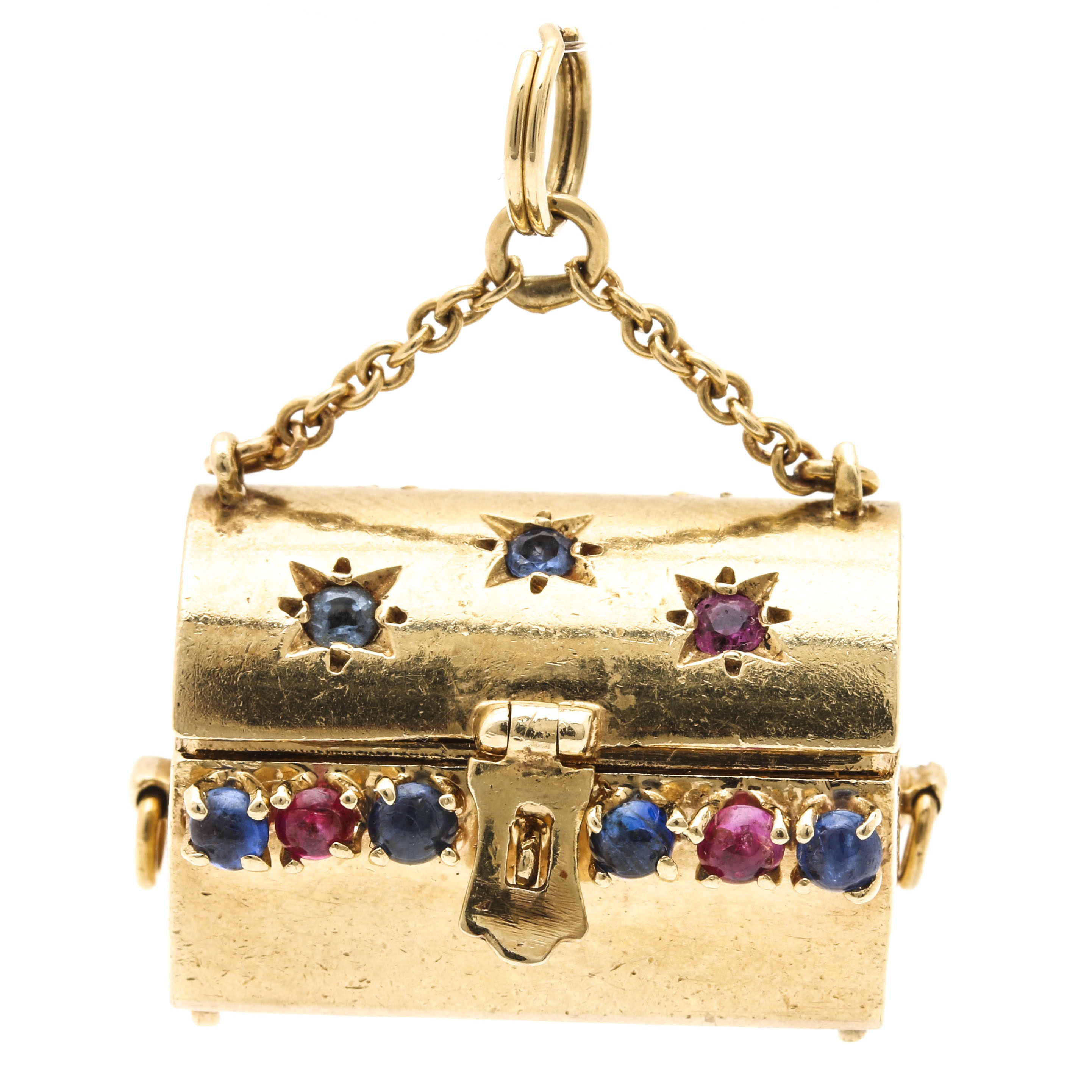 14K Yellow Gold and Multiple Gemstone Treasure Chest Pendant