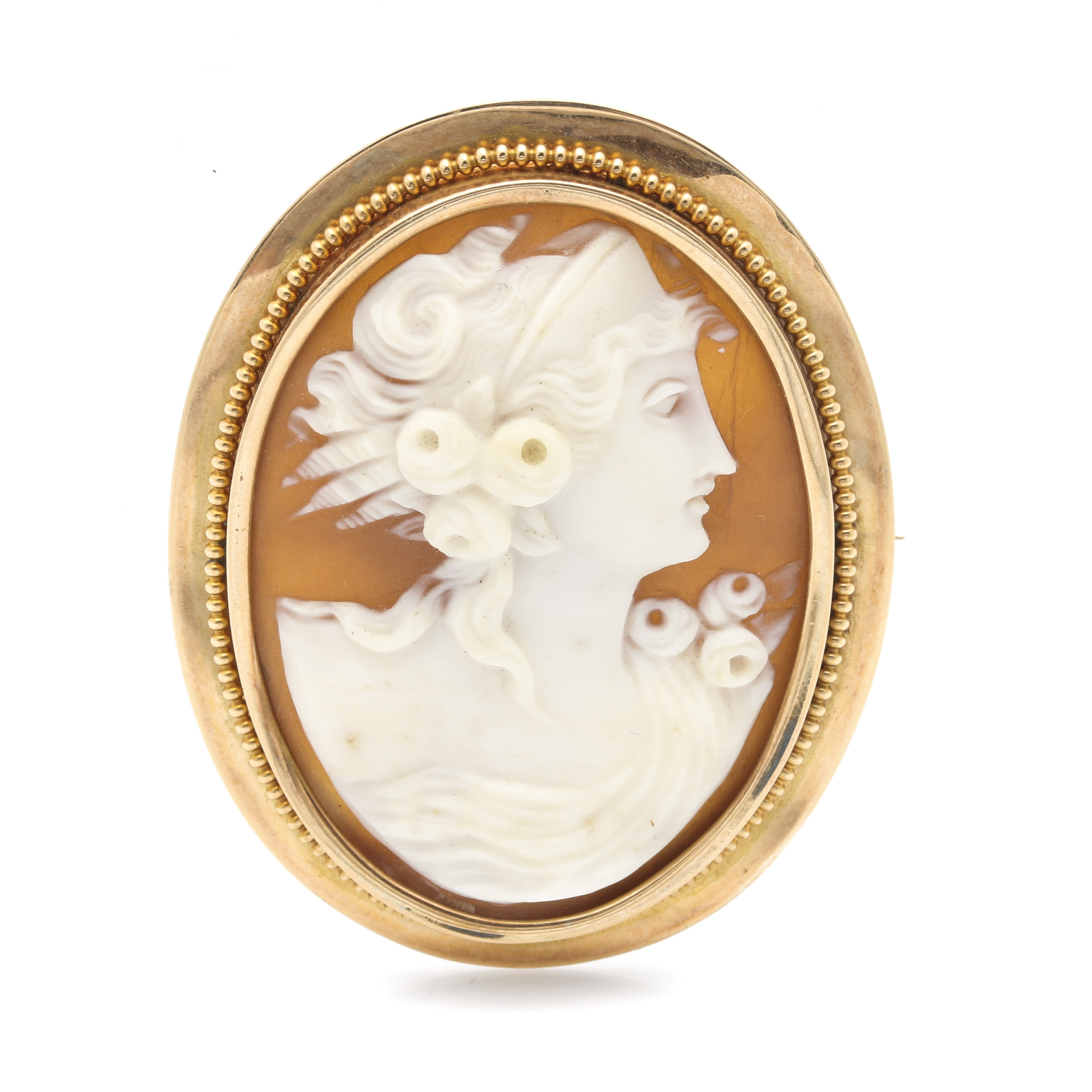 14K Yellow Gold Helmet Shell Cameo Converter Brooch