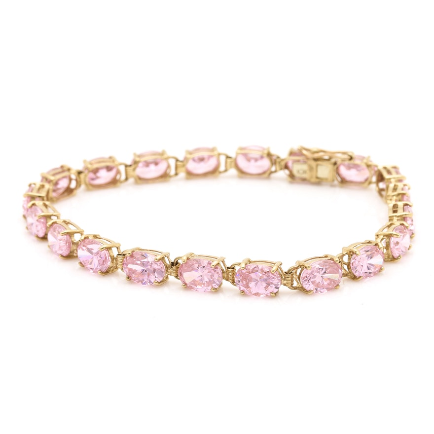 10k Yellow Gold Pink Cubic Zirconia Bracelet