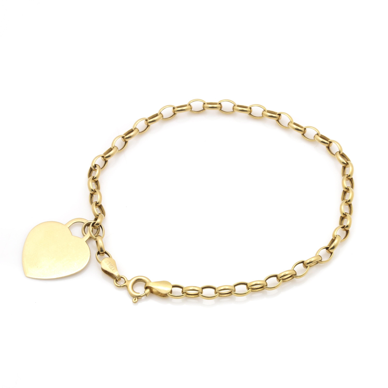 14K Yellow Gold Rolo Chain Heart Bracelet
