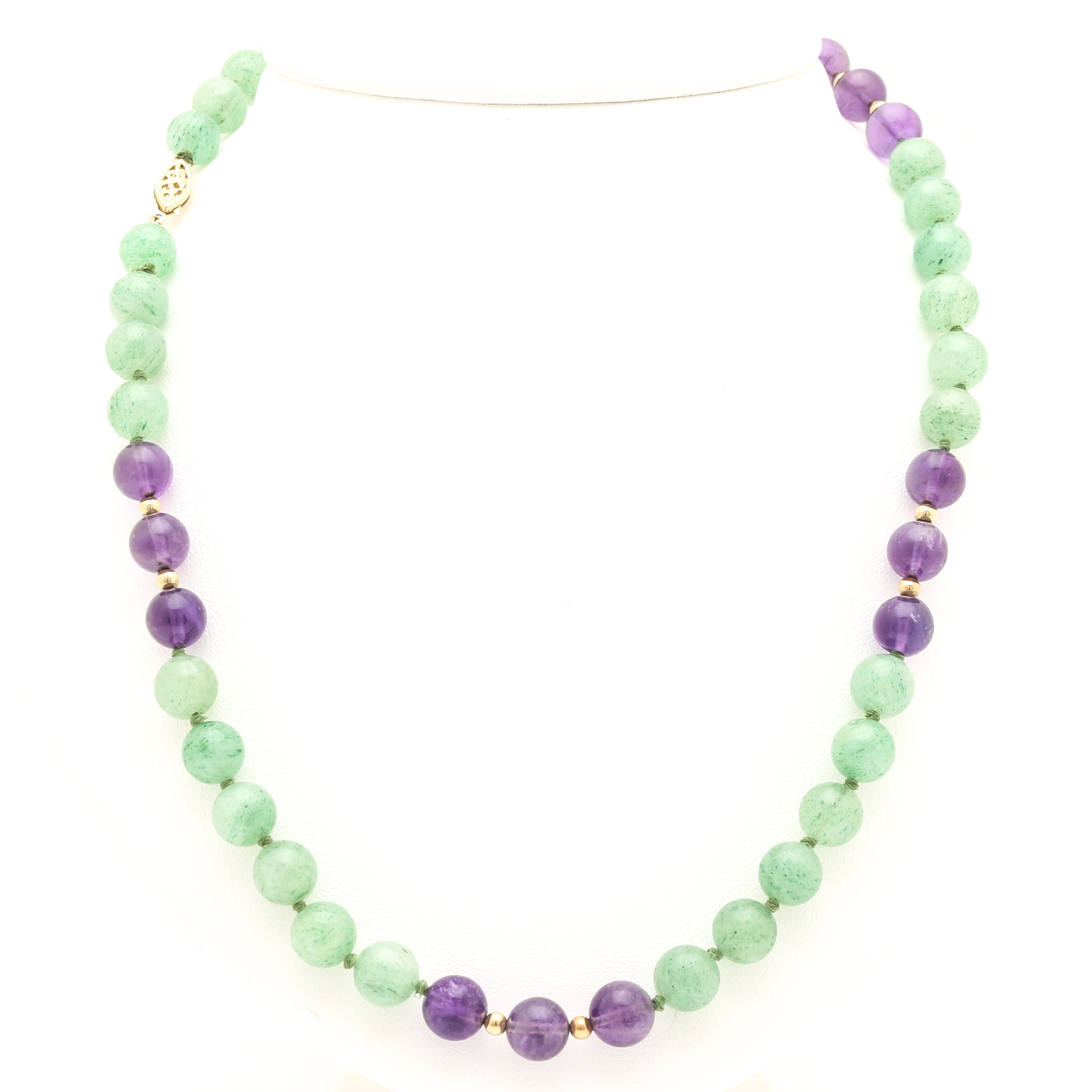 14K Yellow Gold Aventurine and Amethyst Beaded Necklace