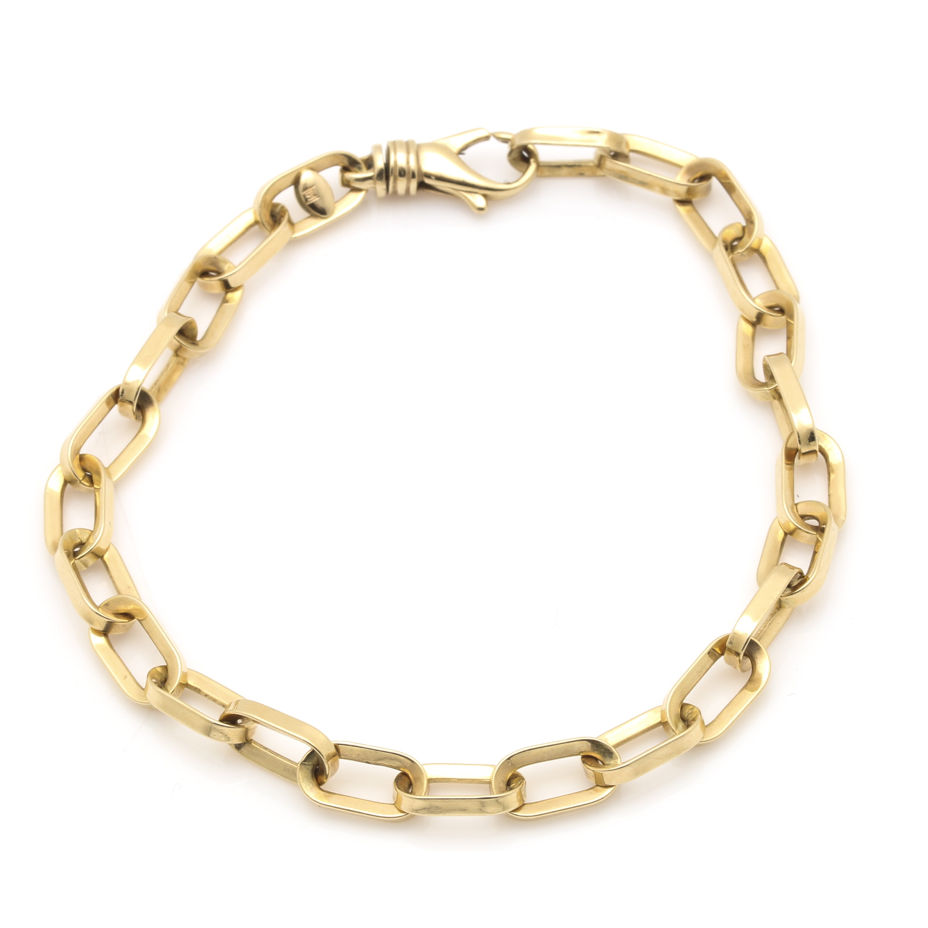 14K Yellow Gold Elongated Cable Link Chain Bracelet