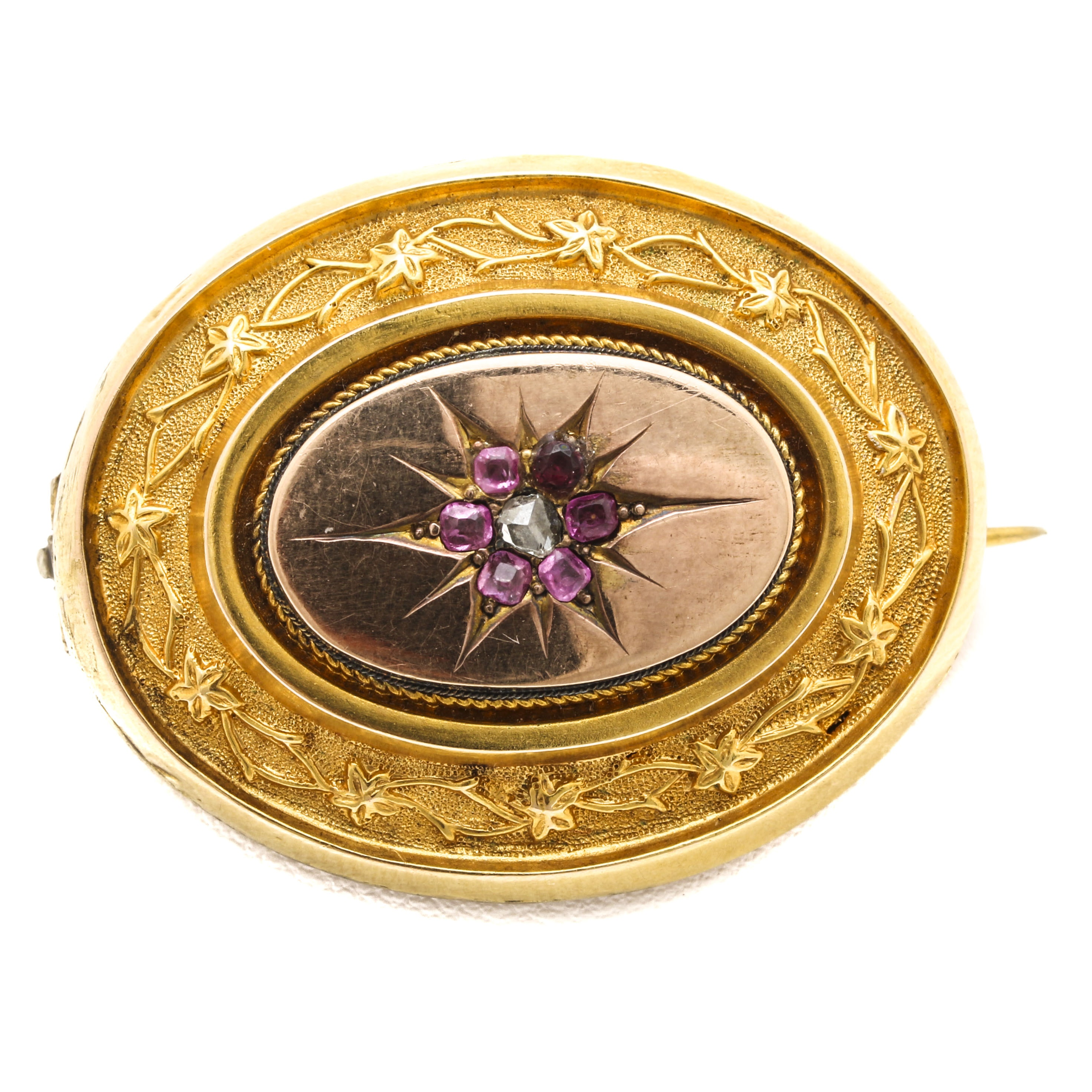 Mid Victorian 10K Two-Tone Gold Diamond and Ruby Brooch