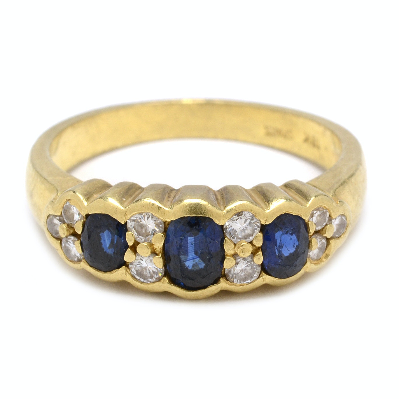 18K Yellow Gold Blue Sapphire and Diamond Ring