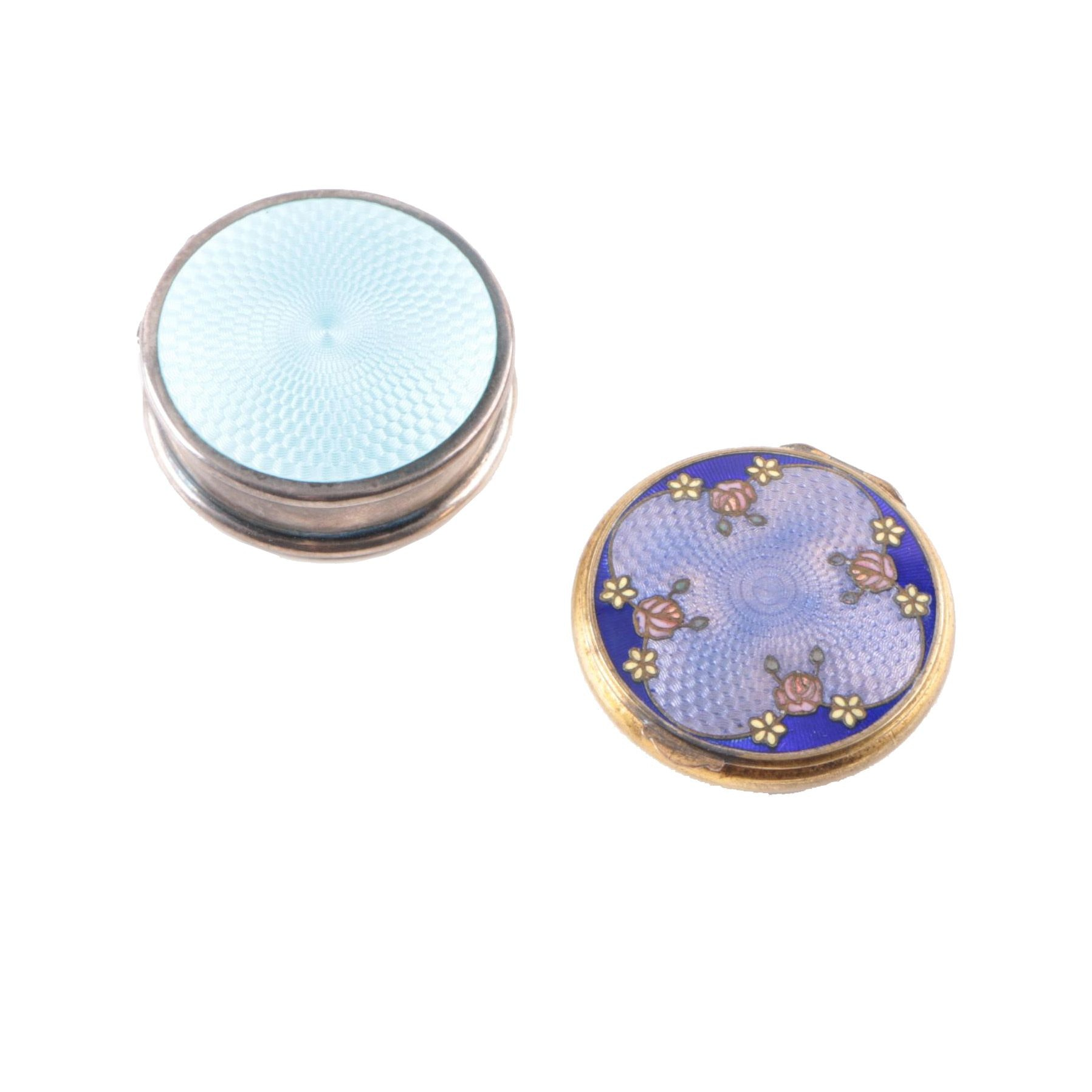 Guilloché Enameled Sterling Silver Compact Mirrors