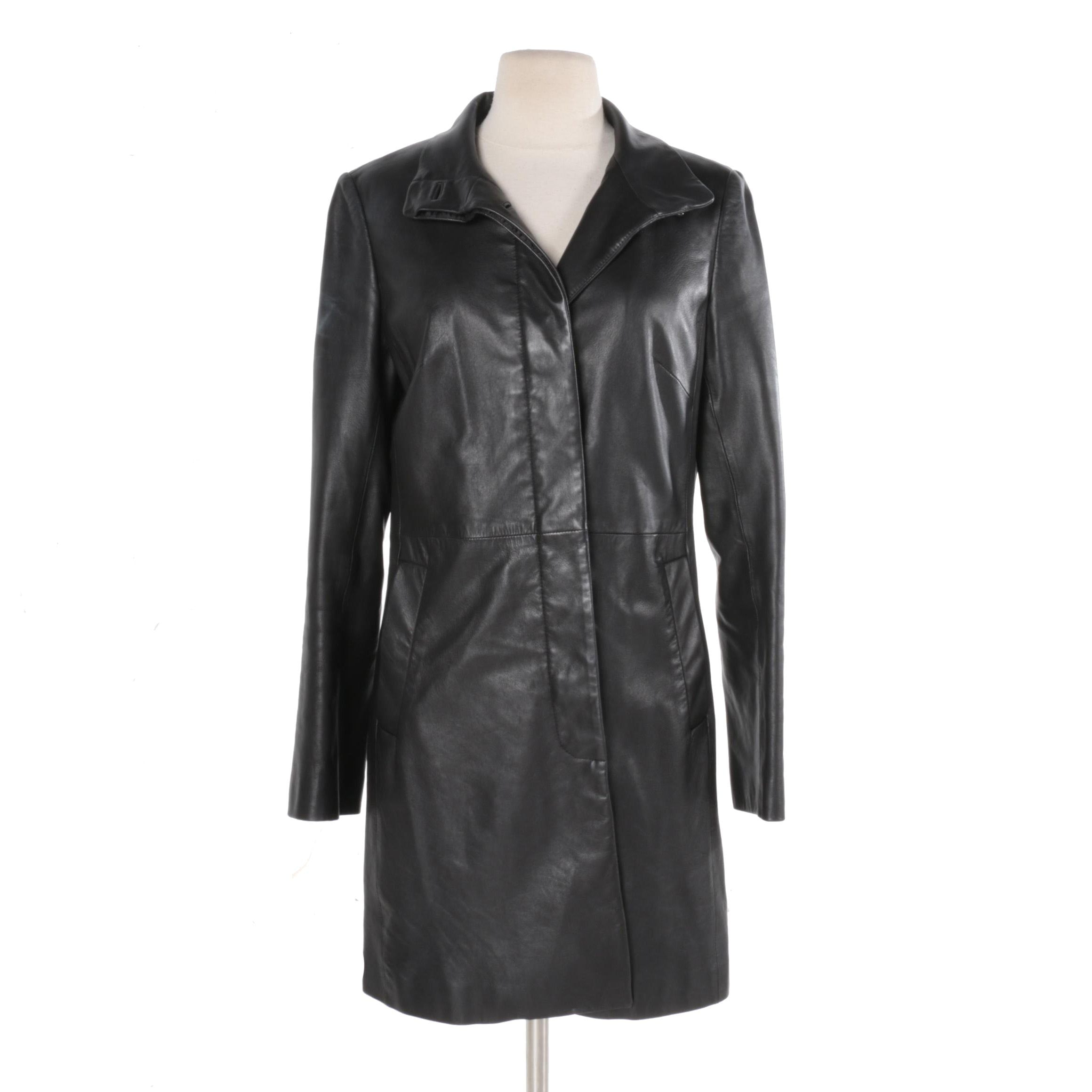 Women's Cole Haan Black Leather Coat