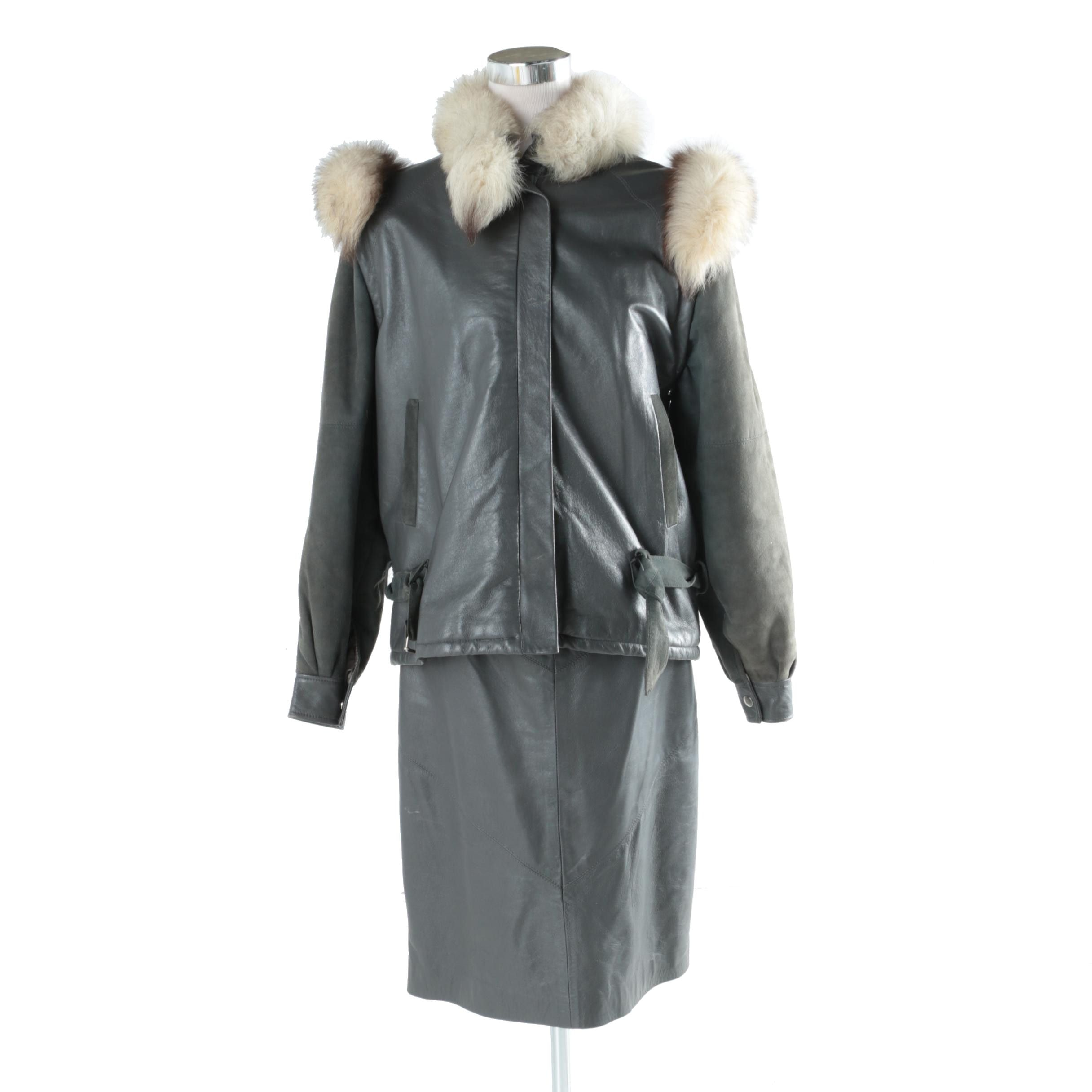 Women's Leather and Fur Jacket and Leather Skirt