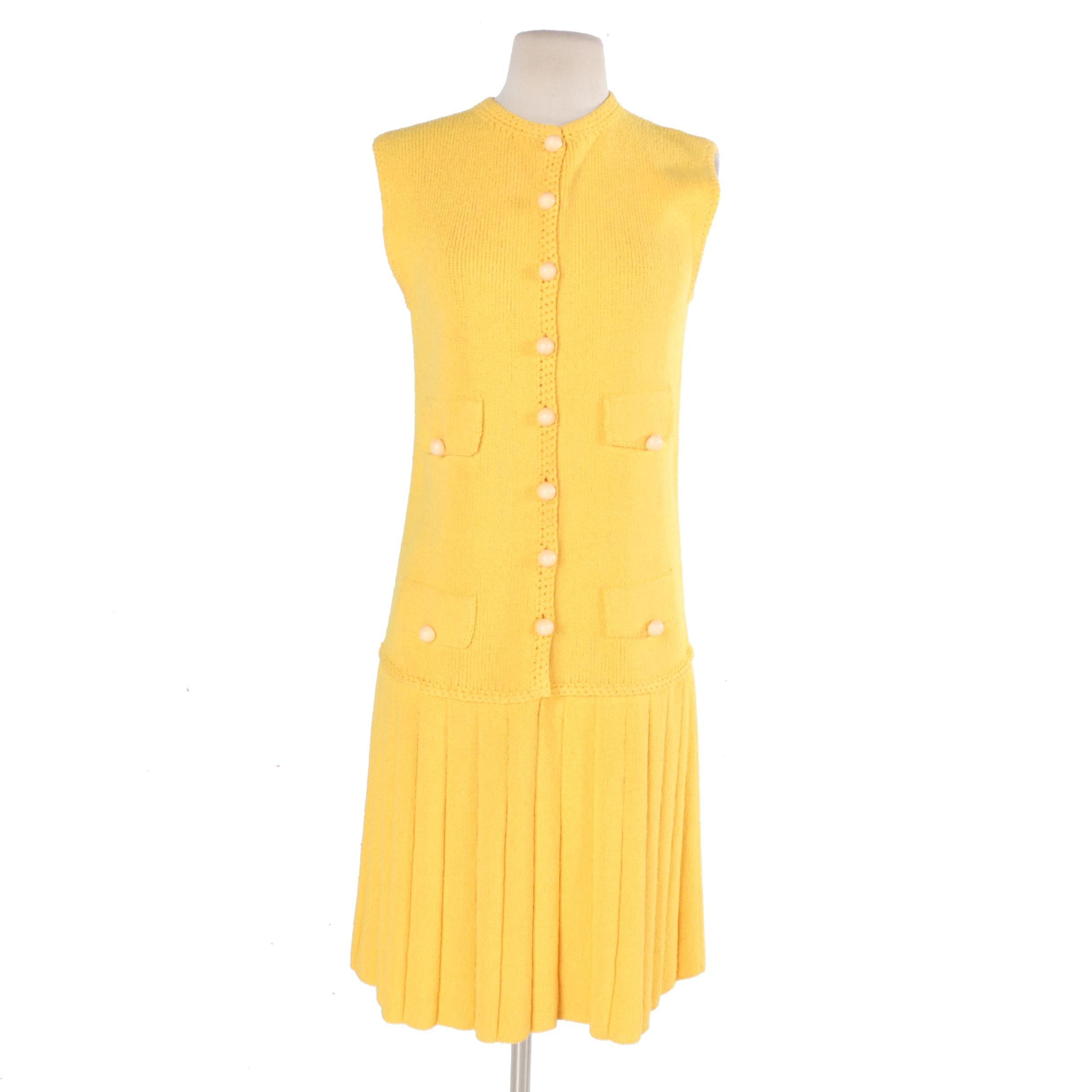 Vintage St. John Knits Sleeveless Yellow Knit Dress