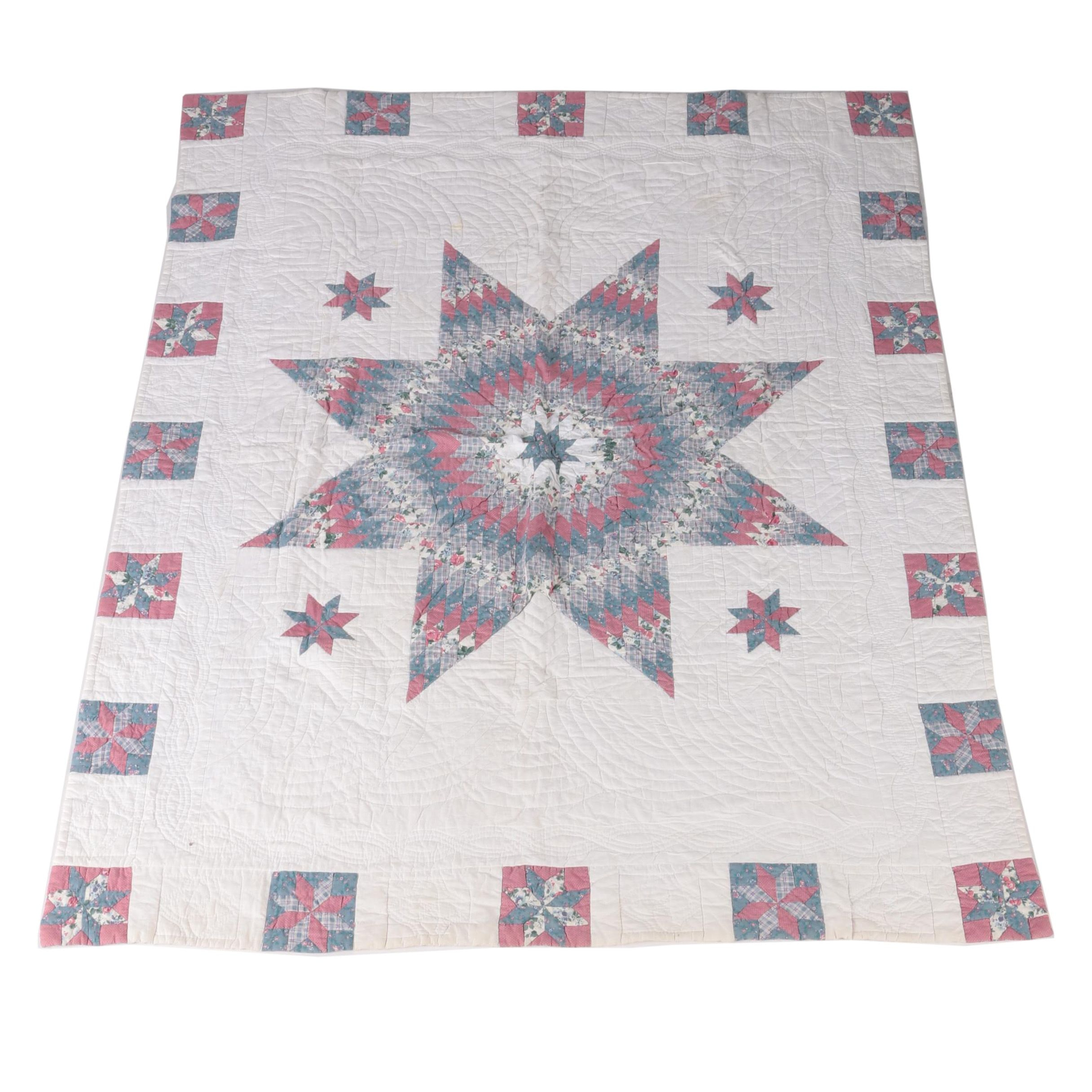 Star Motif Quilted Coverlet