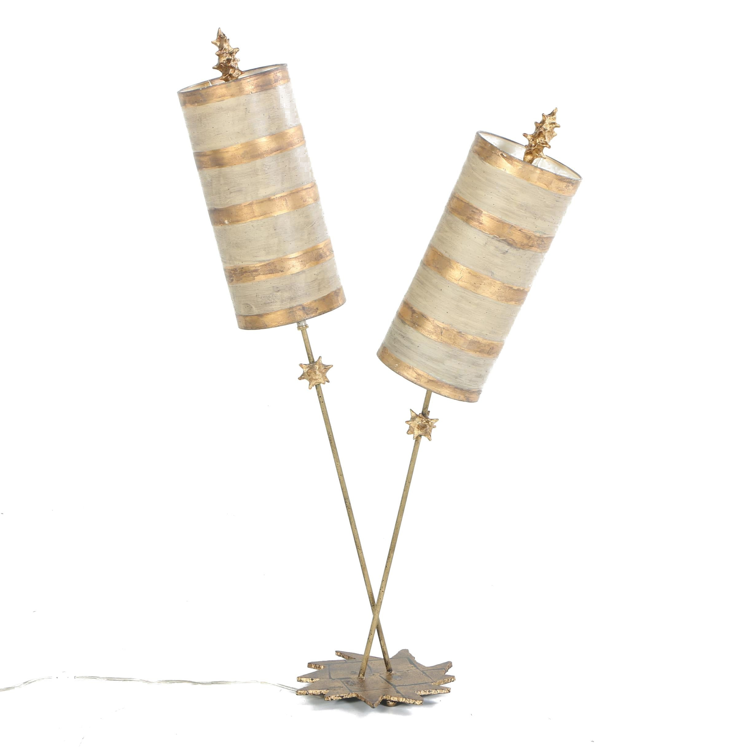 Gold Tone Double Table Lamp
