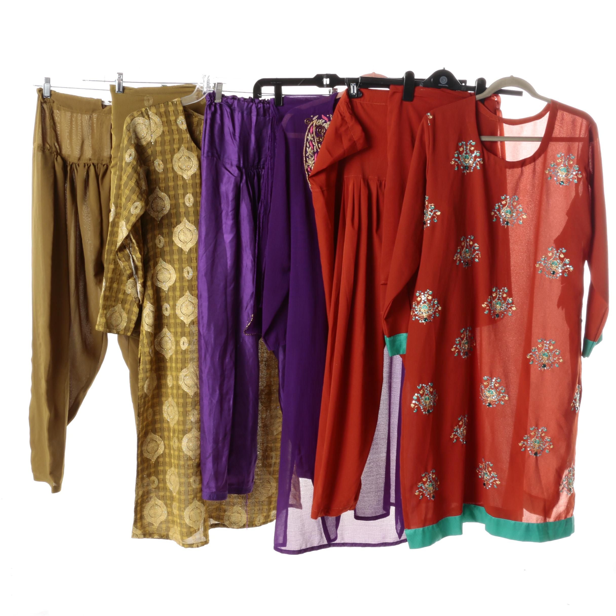 Women's Sheer Tunics with Matching Harem Pants and Scarves