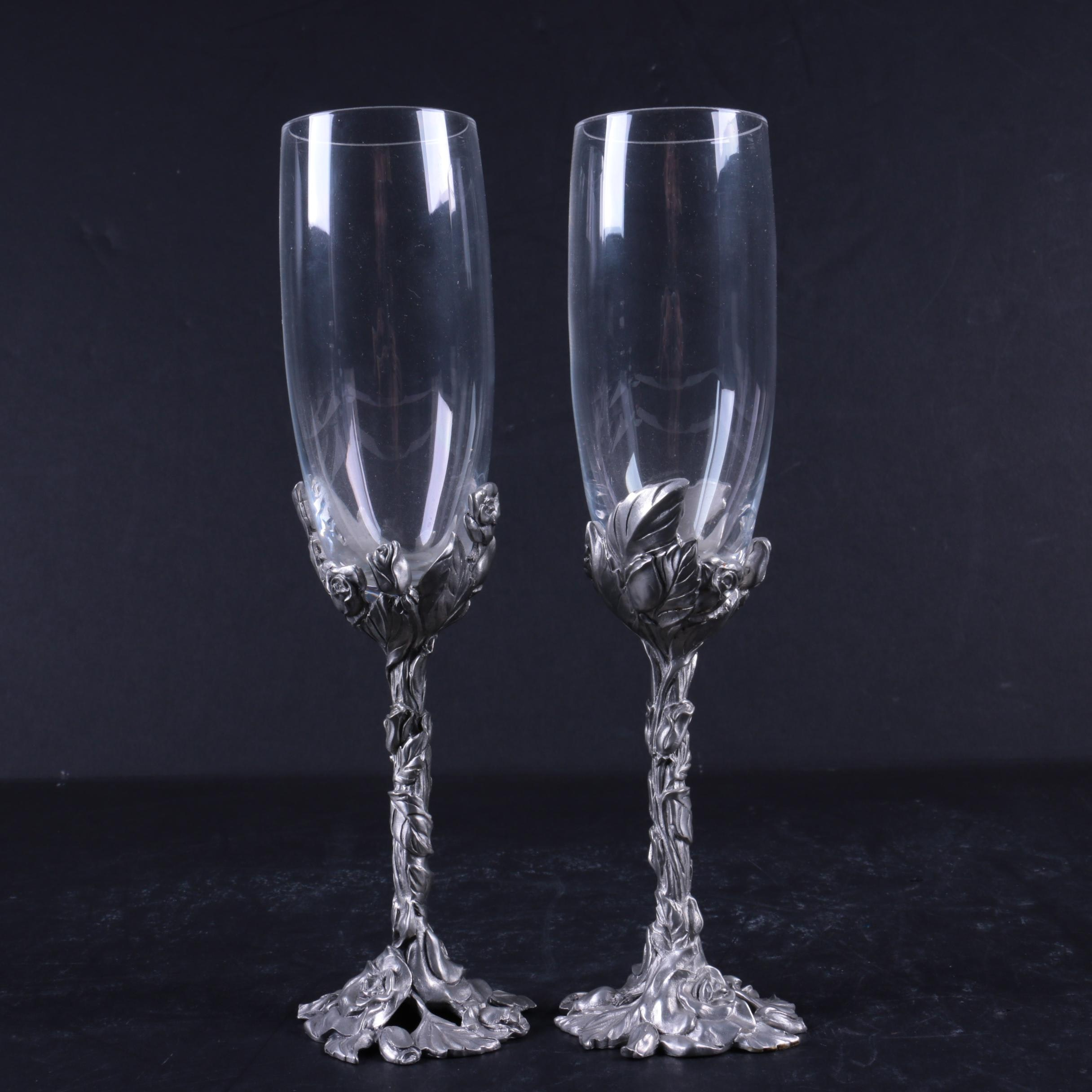 Chased Pewter Wrapped Champagne Flutes