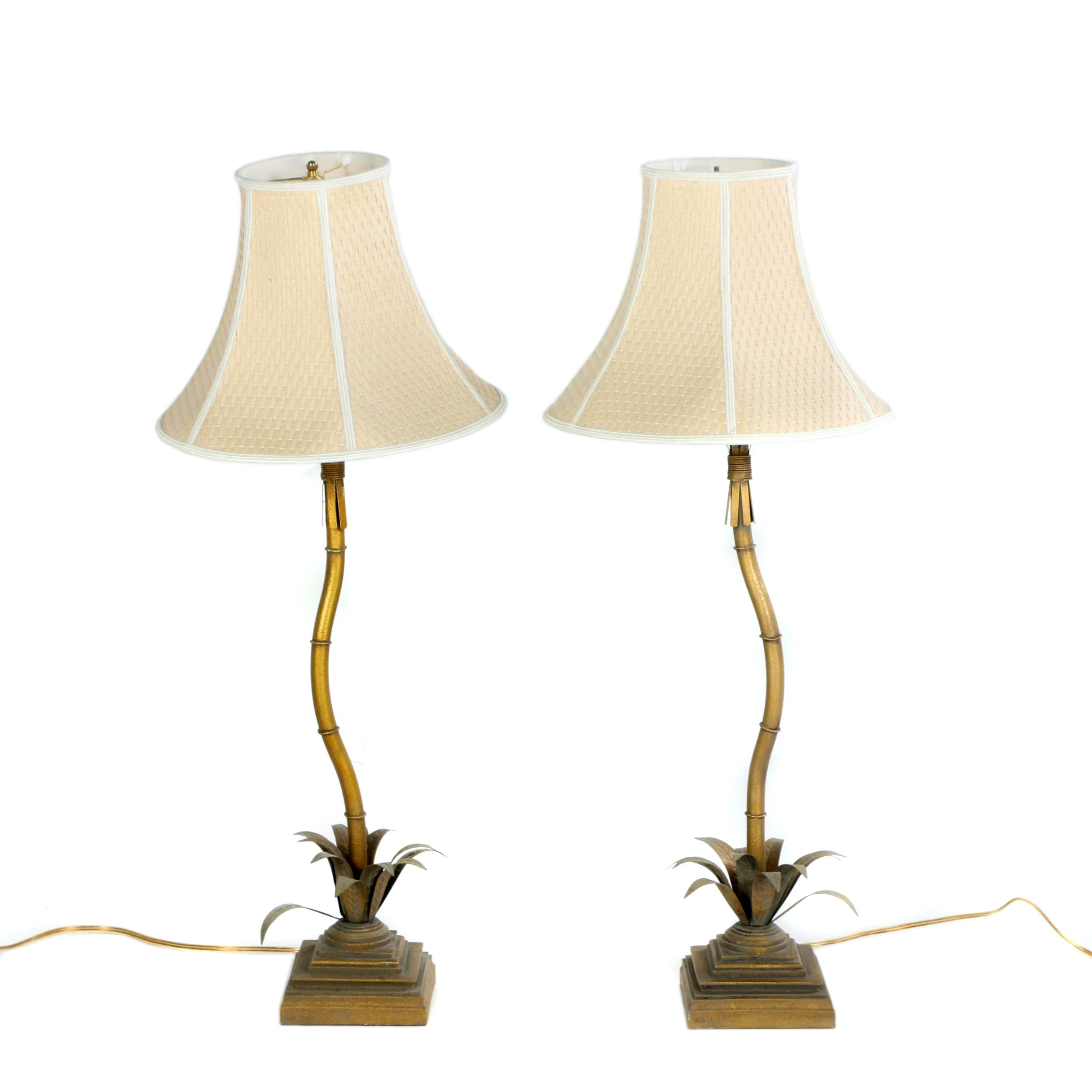 Gold Tone Palm Tree Buffet Lamps