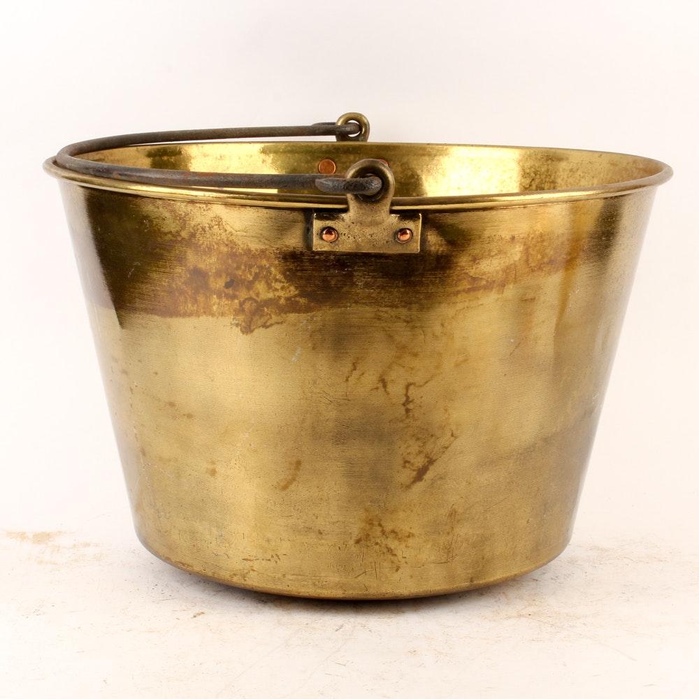 Antique Brass Bucket Marked Hayden's