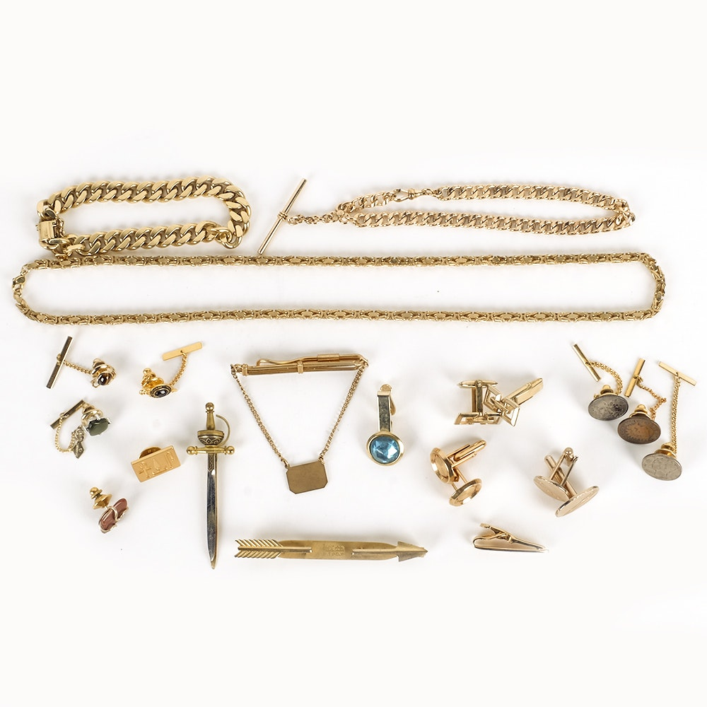 Costume Jewelry Assortment of Cuff Links, Tie Clips, and Chains