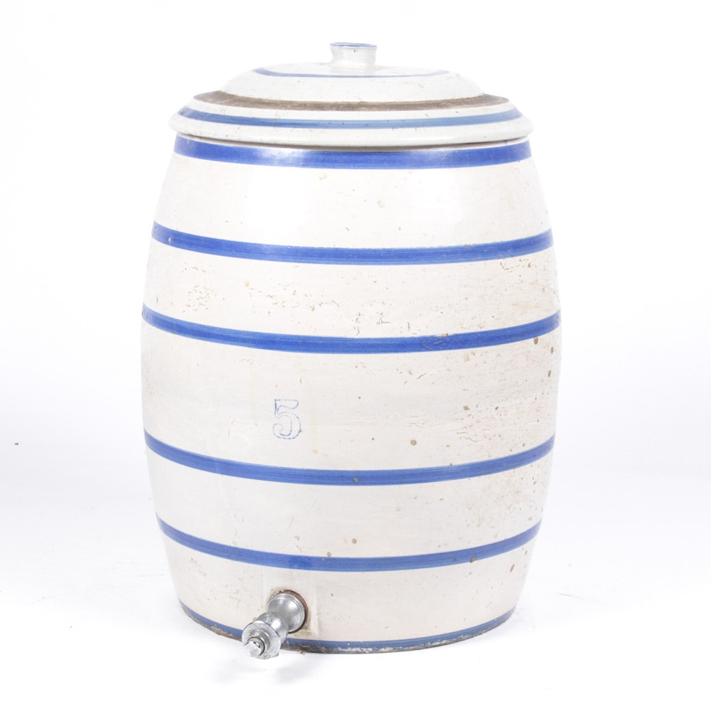 Vintage Five Gallon Stoneware Beverage Dispenser