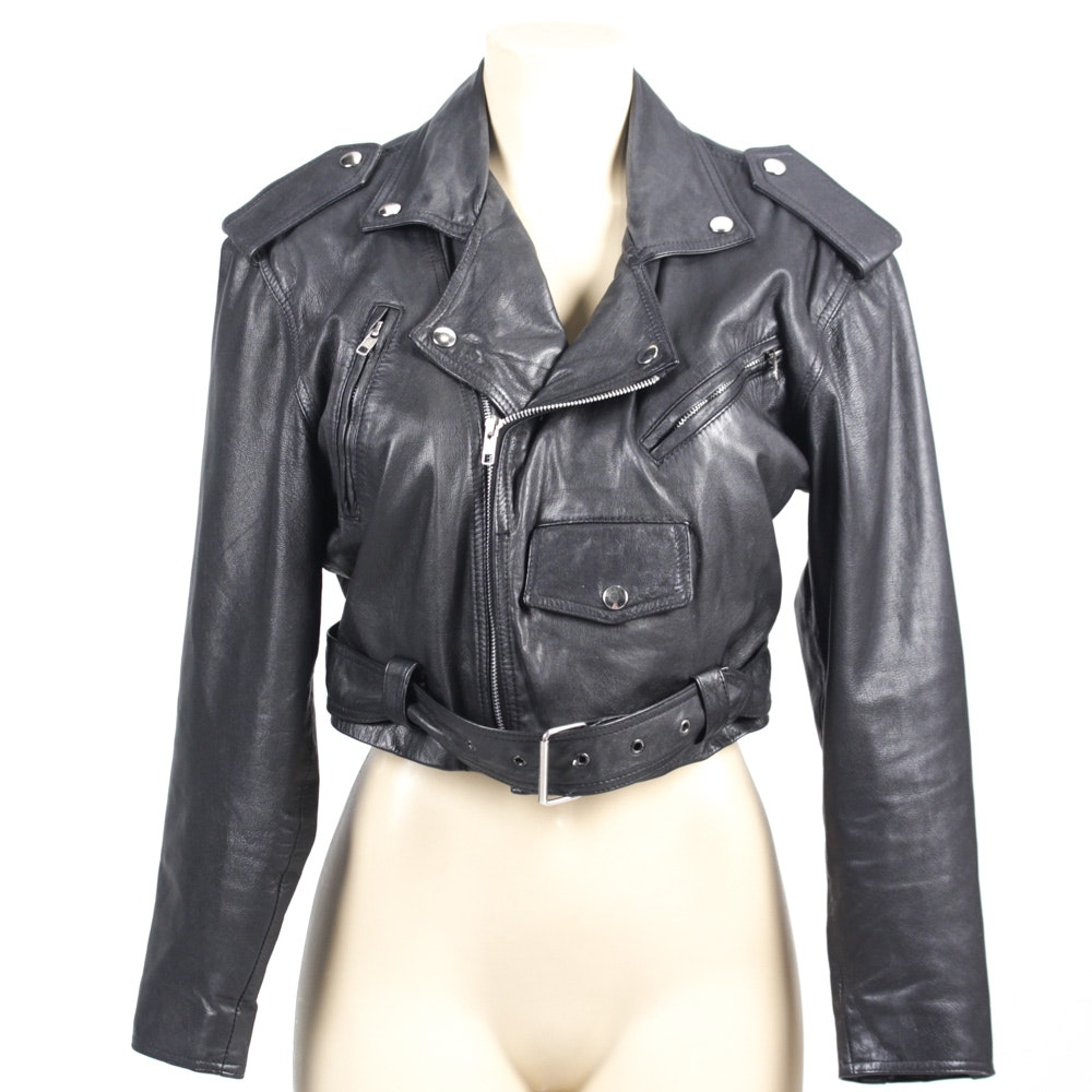 Vintage Wilsons Black Leather Moto Jacket
