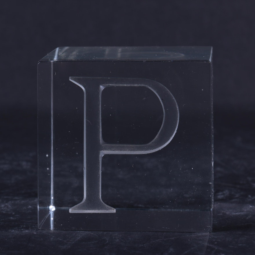 Monogram Etched Glass Paperweight Ebth
