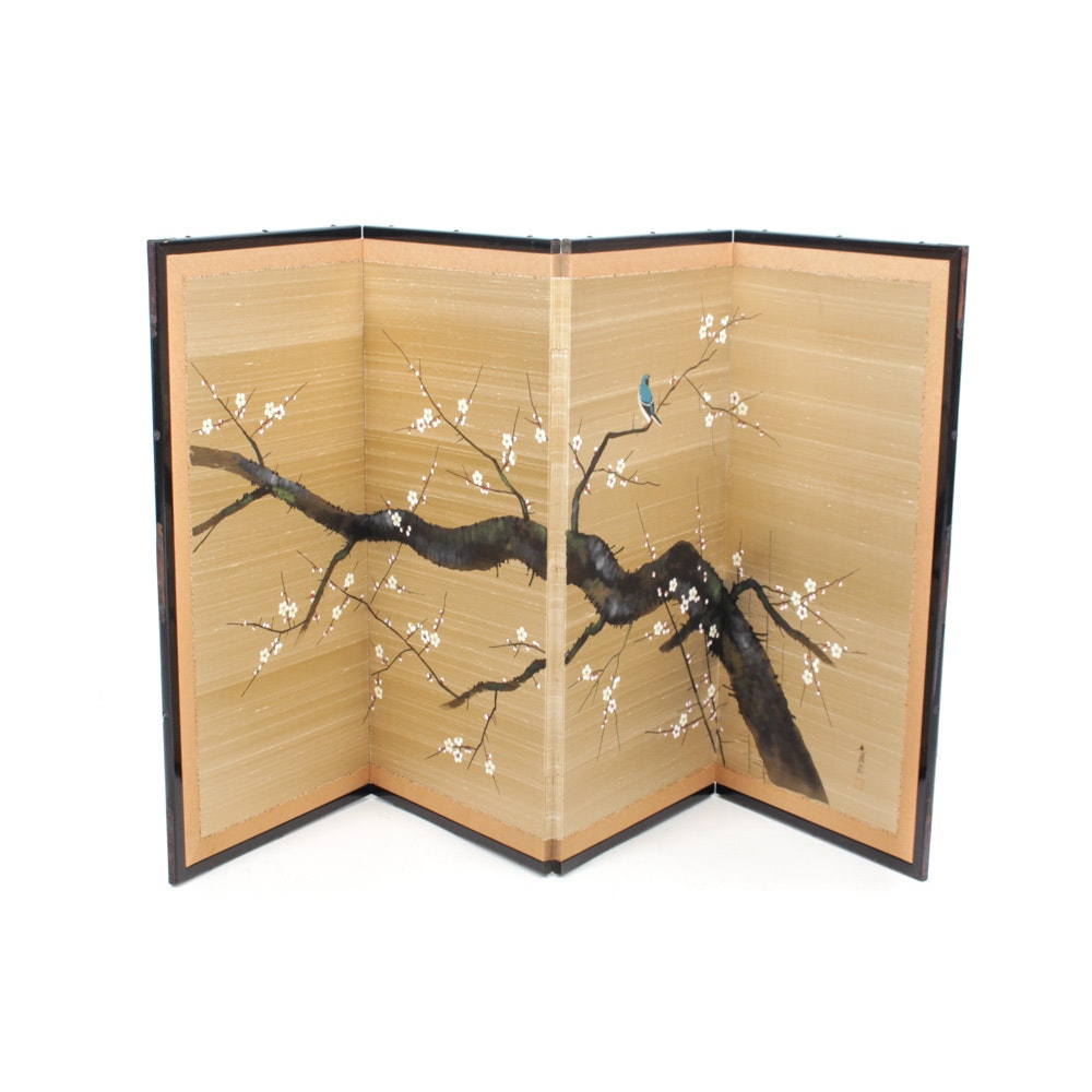 Vintage Japanese Four-Panel Screen
