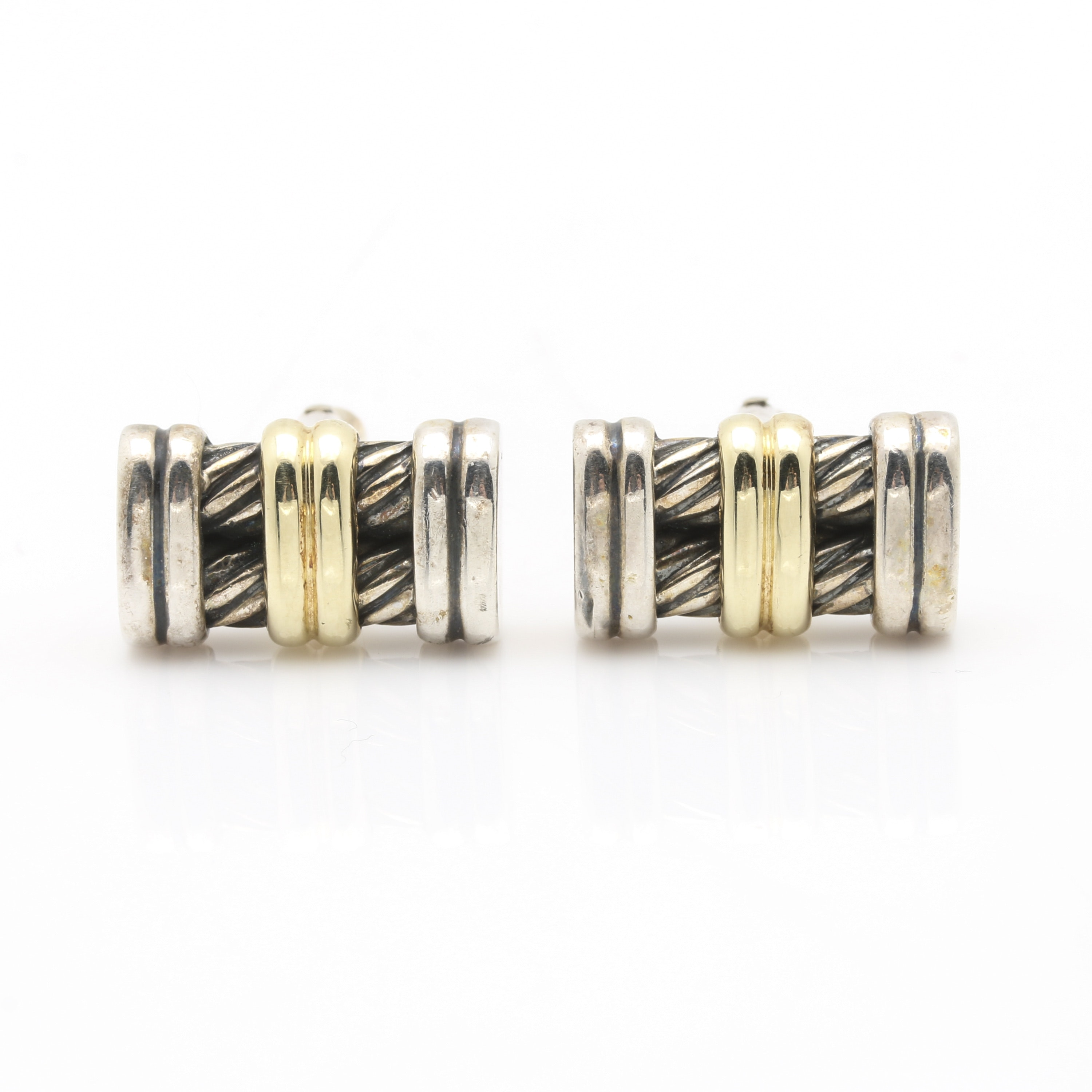 David Yurman Sterling Silver Cufflinks With 14K Yellow Gold Accents