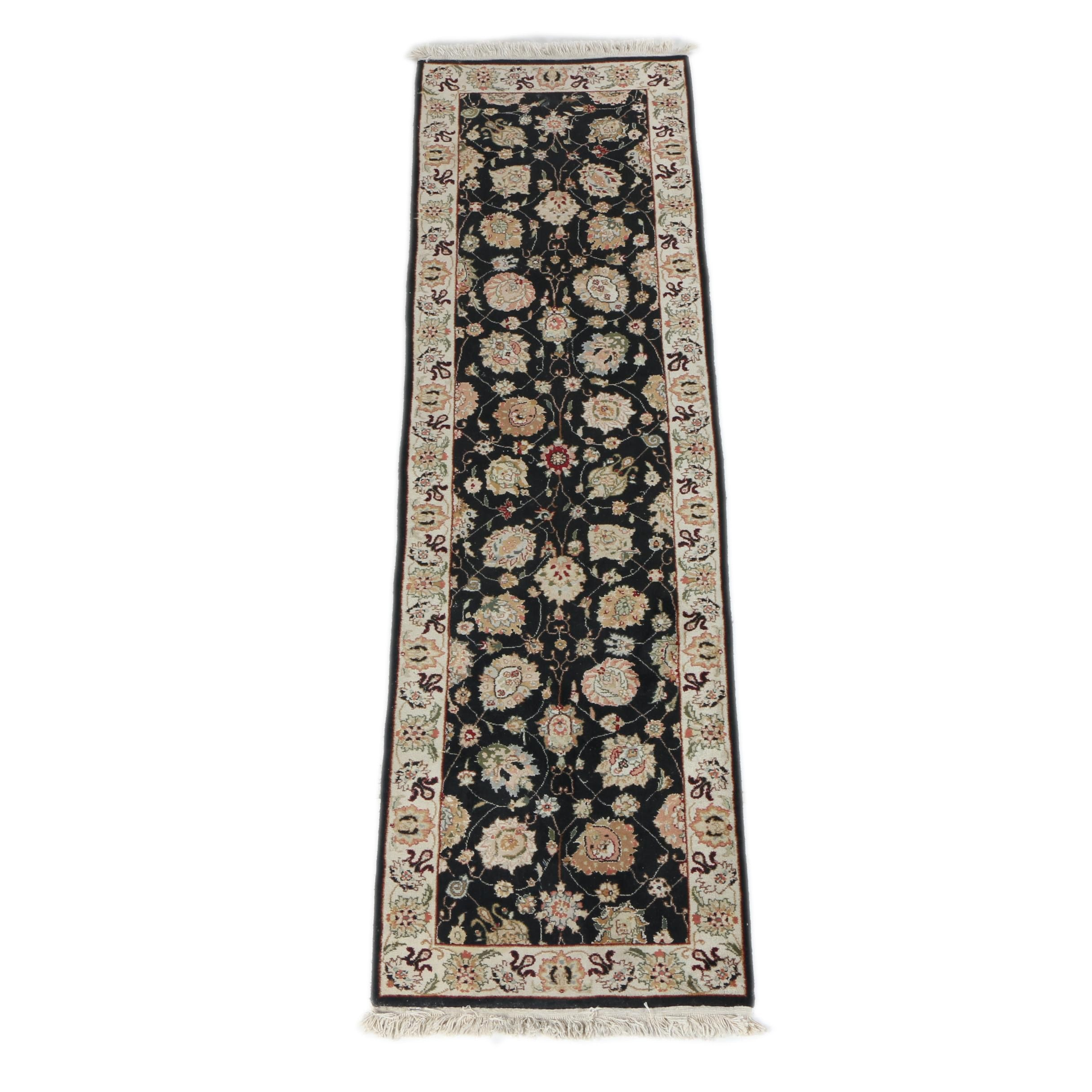 Hand-Knotted Indian Agra Style Wool Carpet Runner