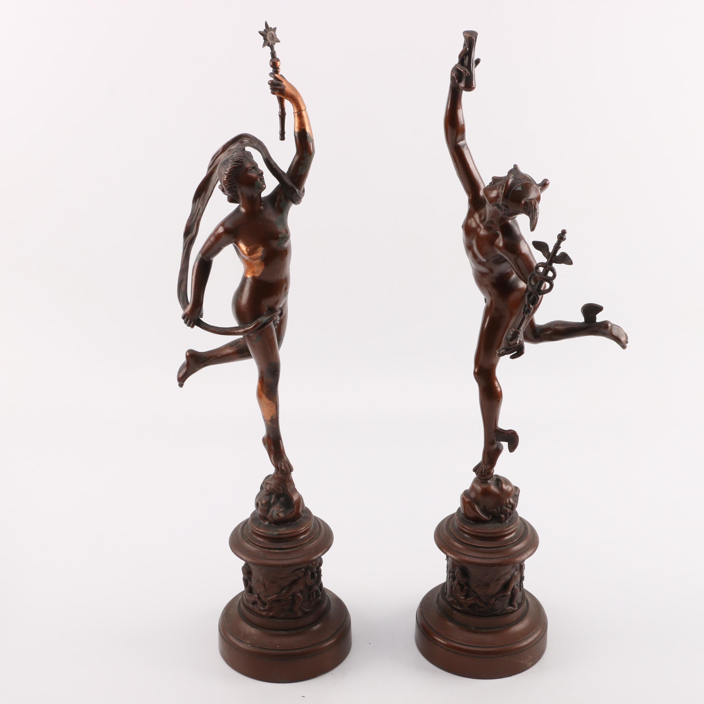 Mercury and Fortuna Bronze Sculptures after Jean de Bologna