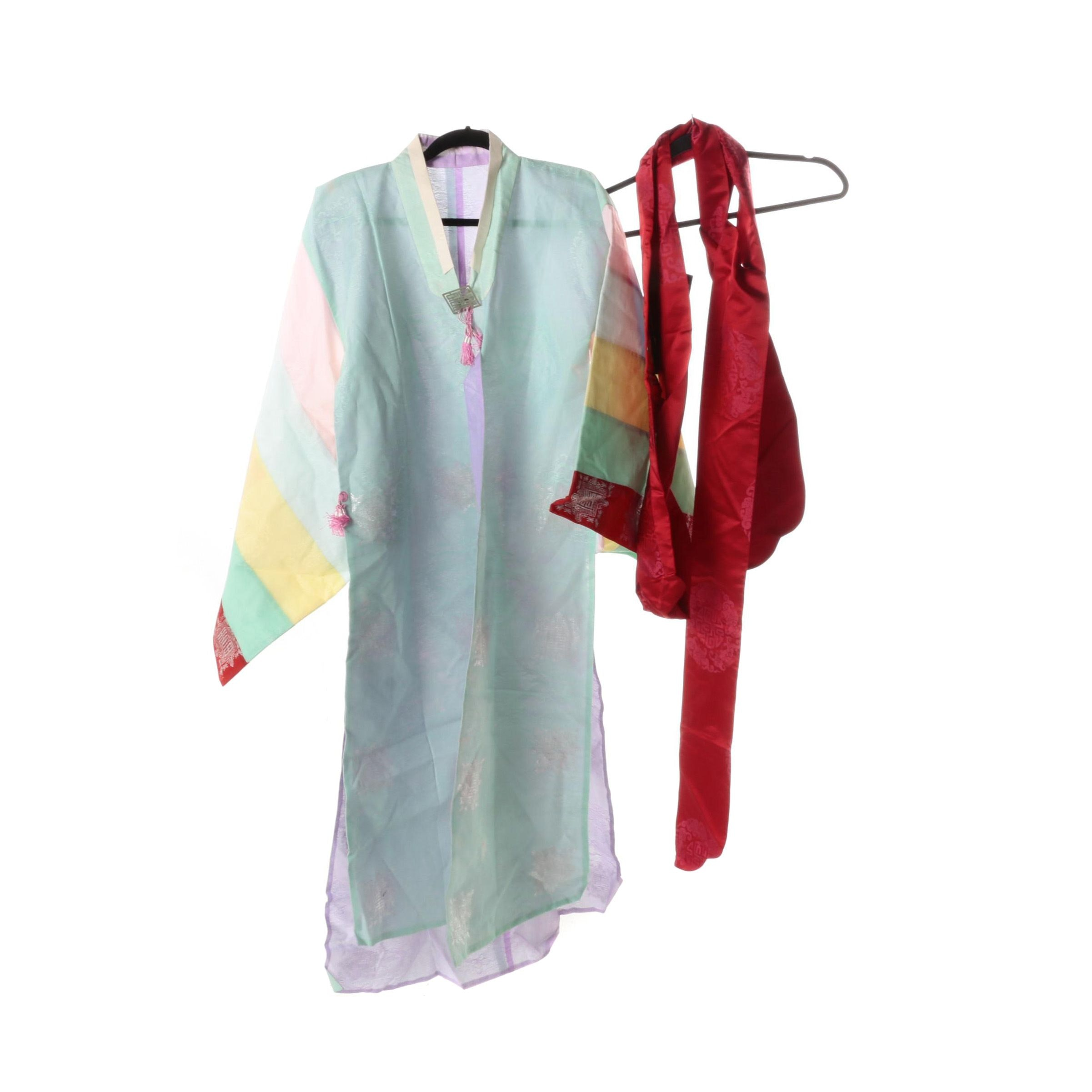 Korean Tunic and Red Embroidered Satin Sash