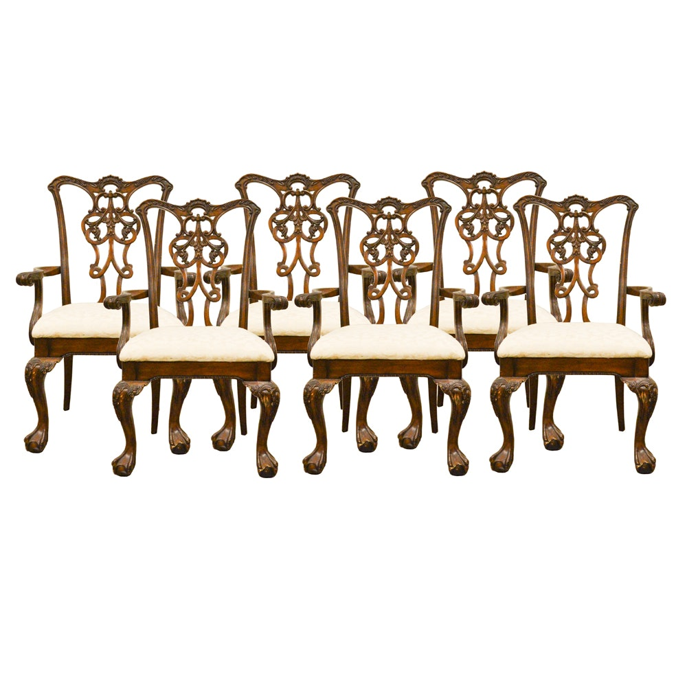 Six Chippendale Style Mahogany Dining Armchairs