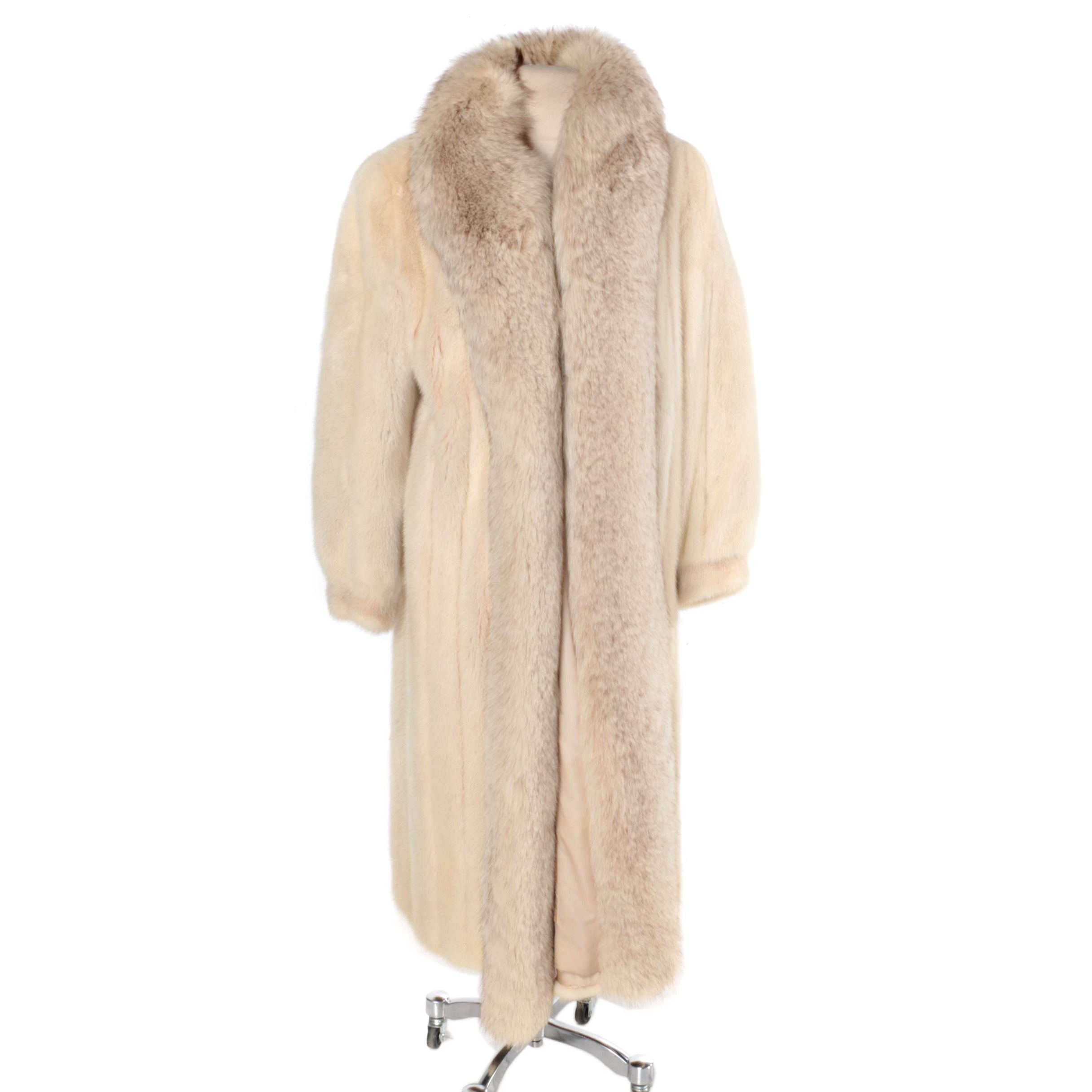 Women's Blue Fox and Platinum Mink Fur Coat