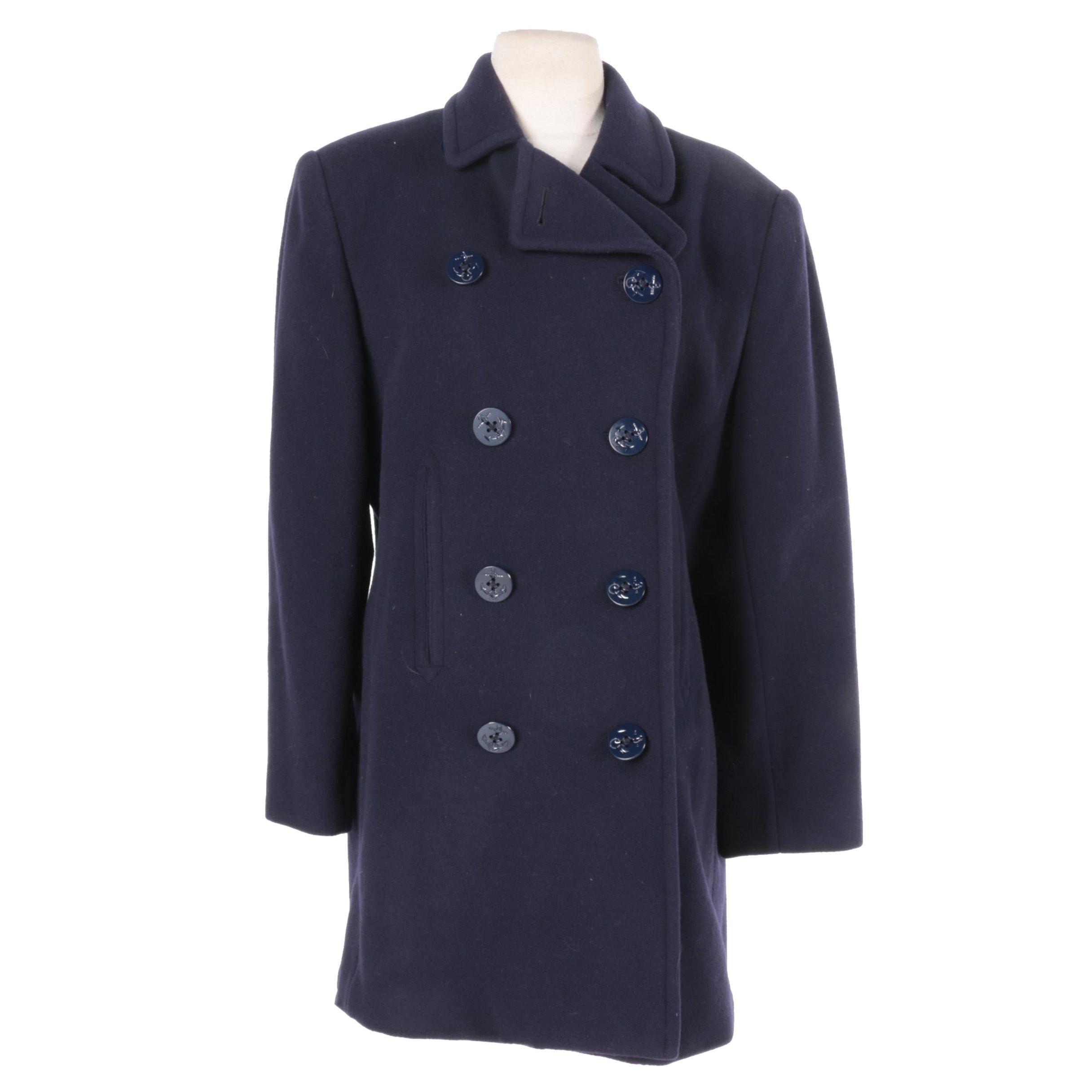Women's Lauren Ralph Lauren Navy Blue Wool Blend Peacoat