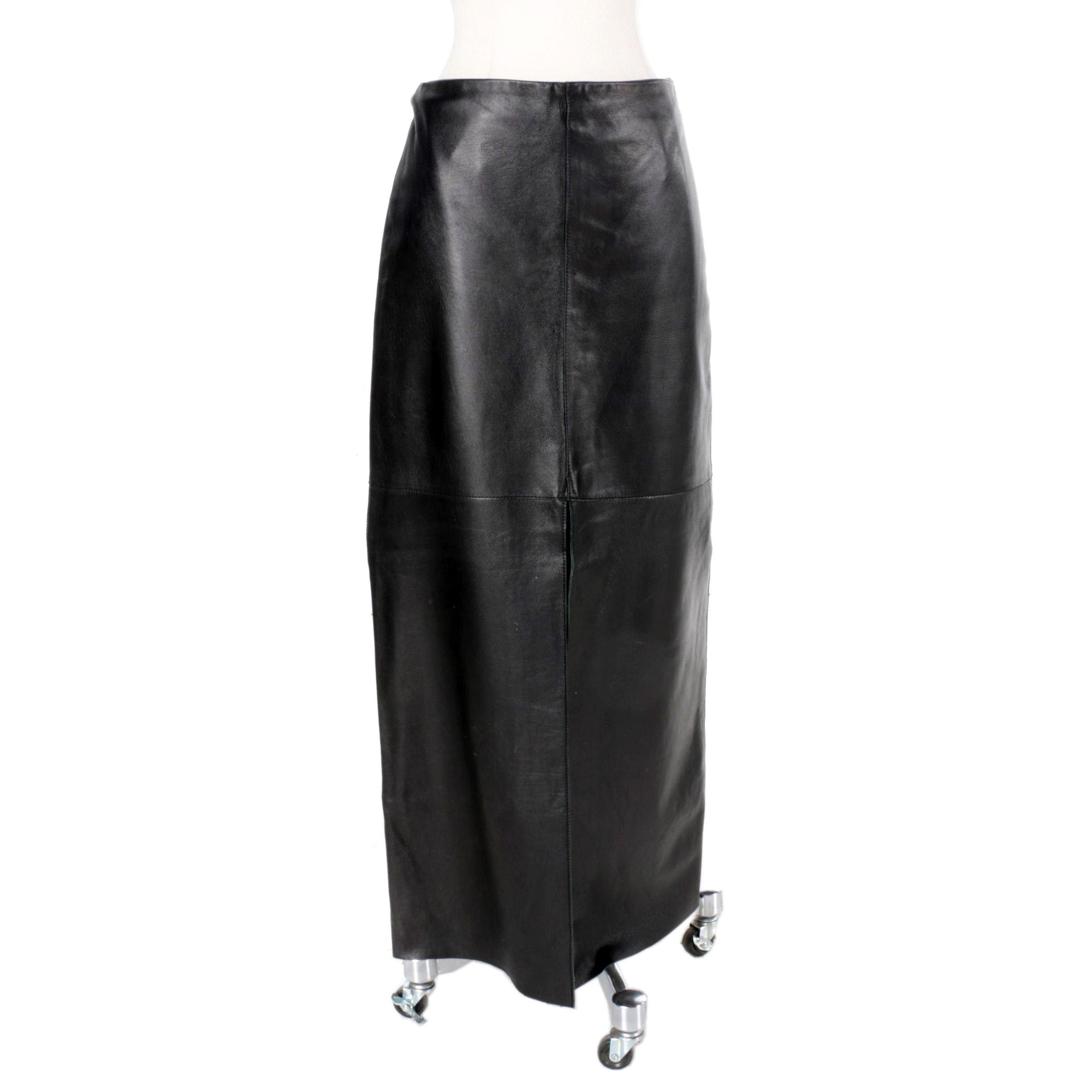 Women's Bebe Black Leather Maxi Skirt