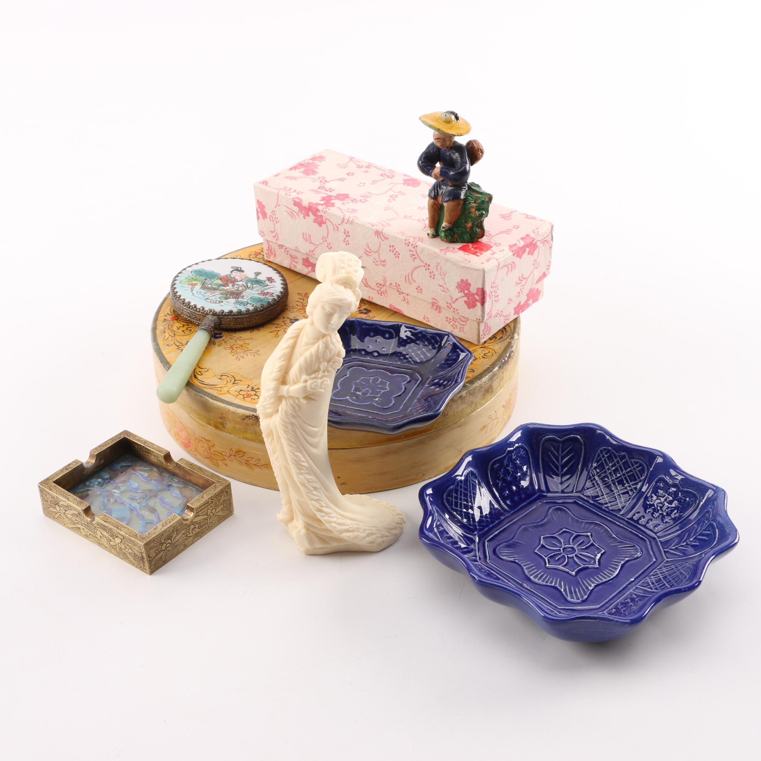 East Asian Figurines, Ashtray, Hand Mirror, and Dishes