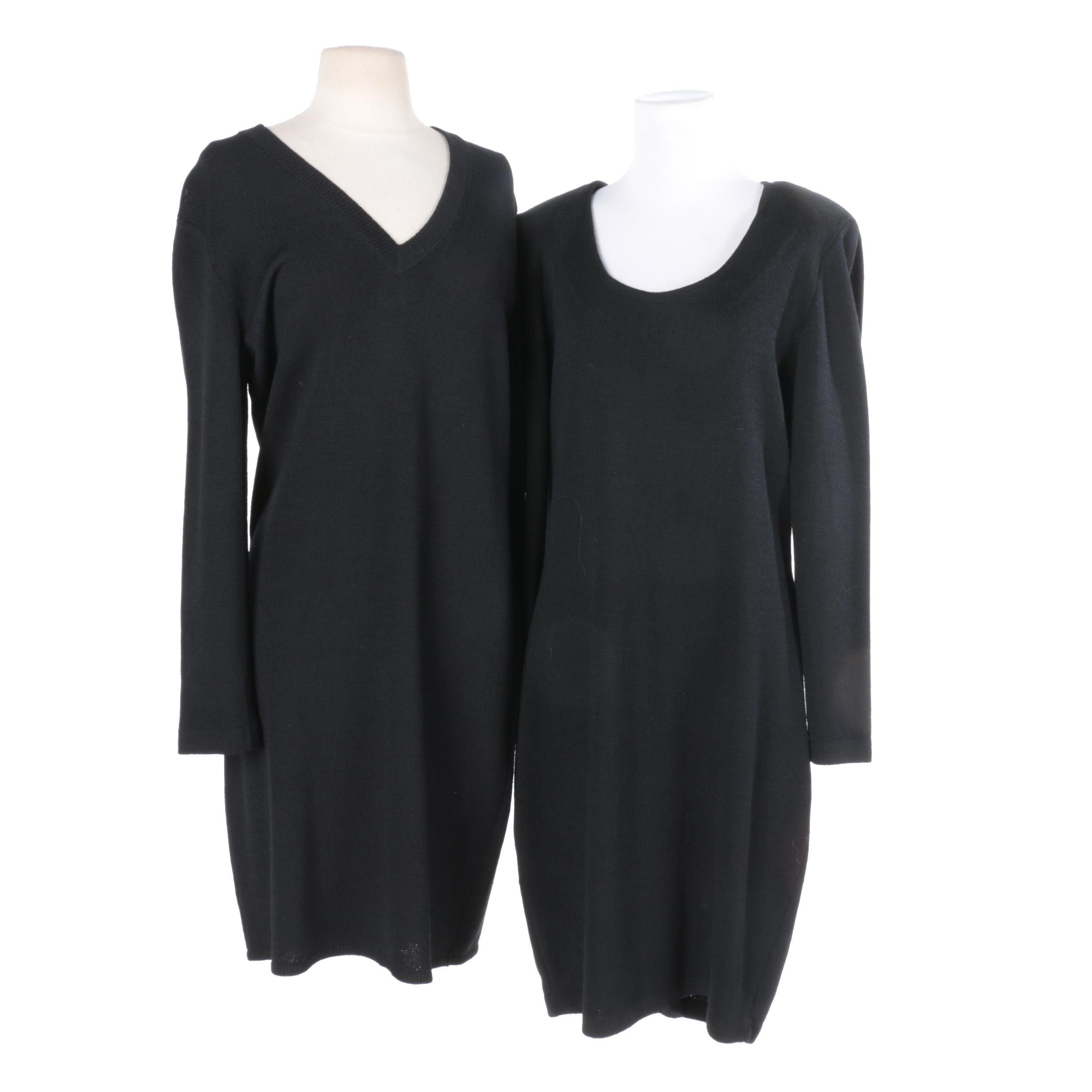 St. John Black Knit Dresses