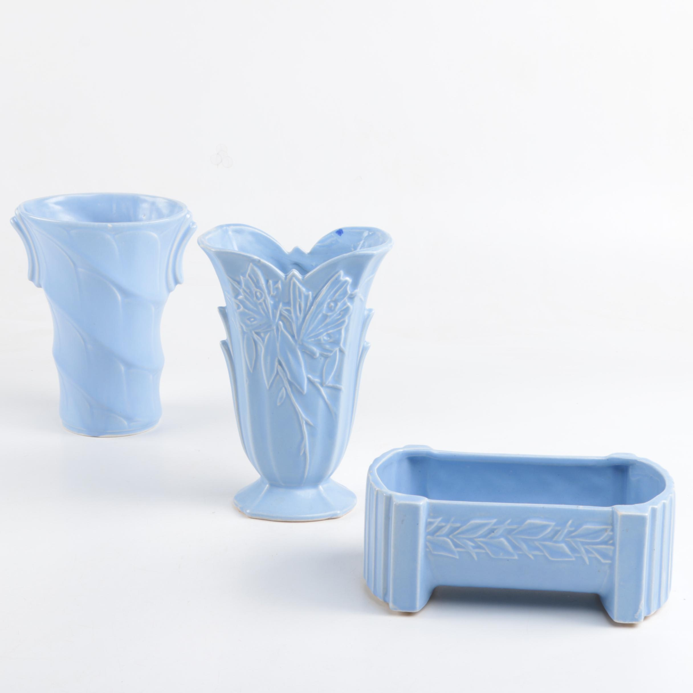 McCoy Pottery Planters in Sky Blue
