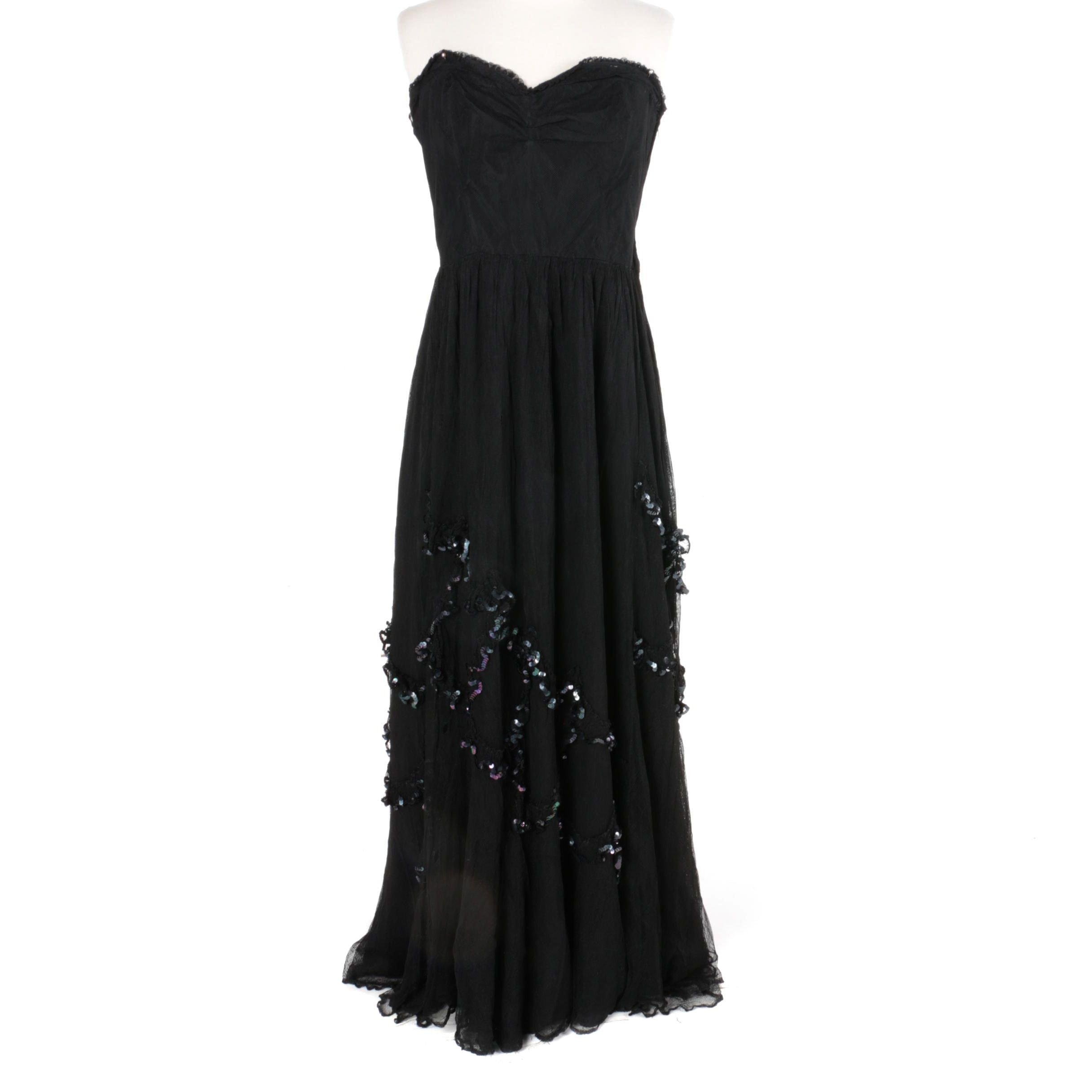 Women's Vintage Strapless Sequined Evening Gown