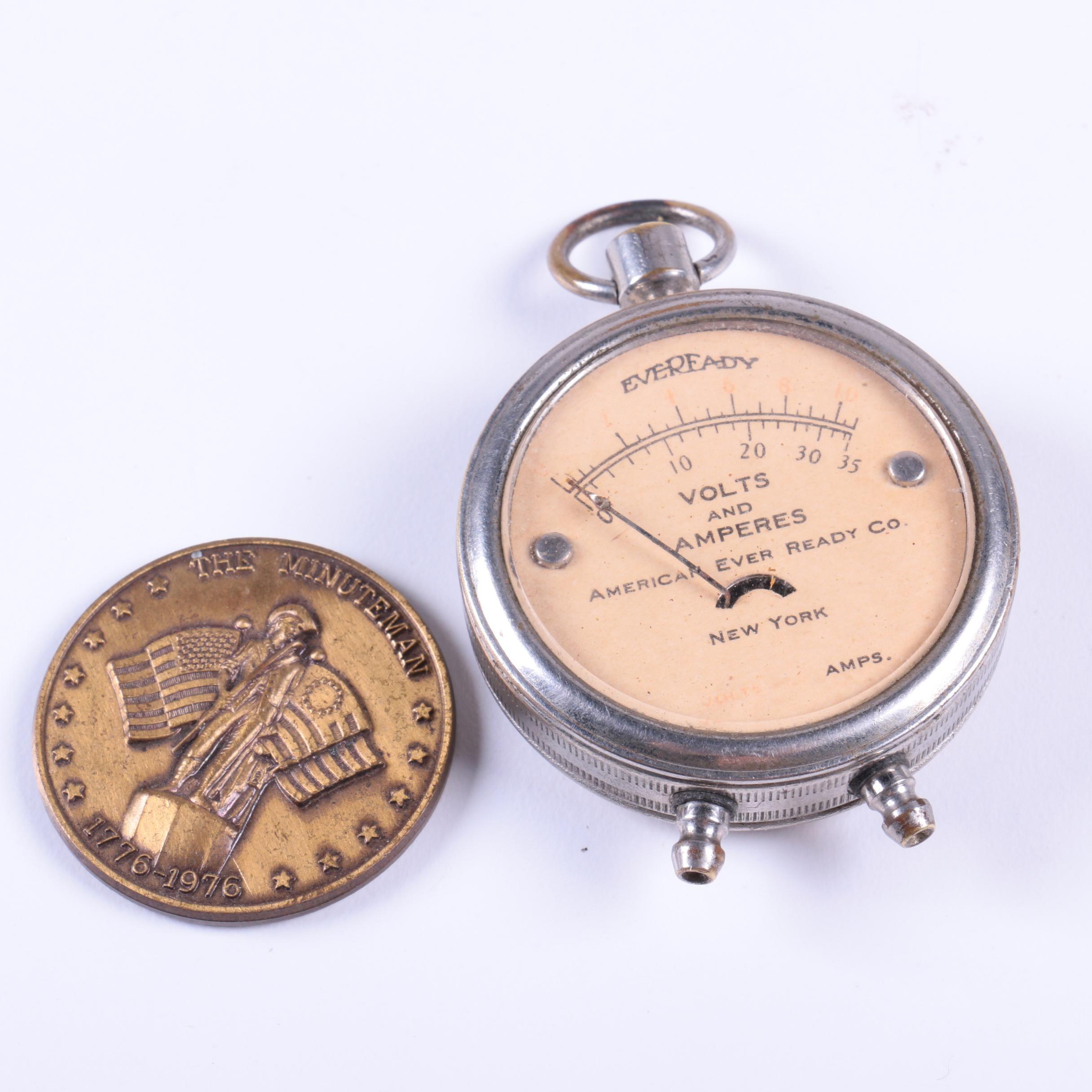 "Eveready Pocket Watch Meter and Bronze ""The Minutemen"" Bicentennial Medal"