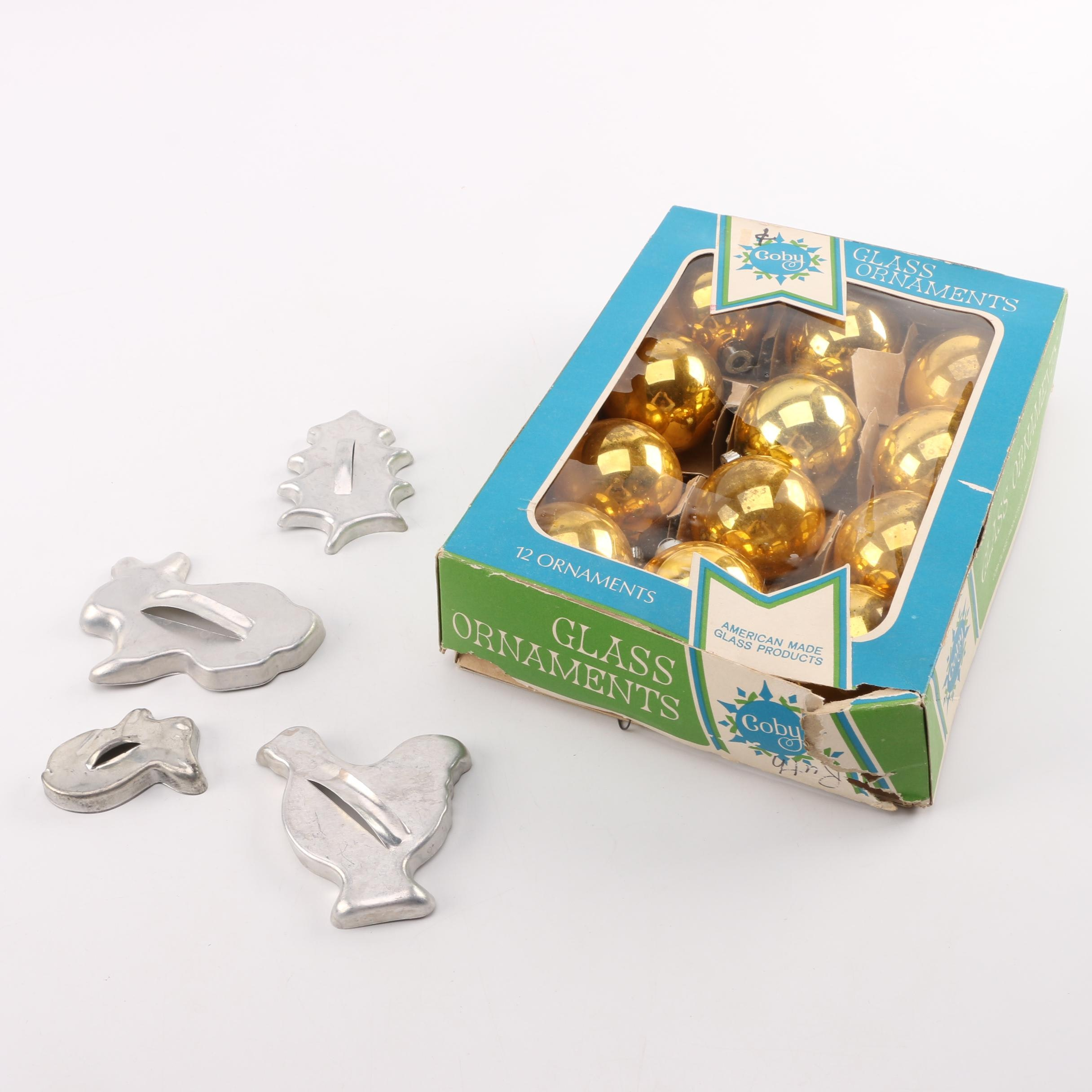 Glass Christmas Ornaments and Tin Cookie Cutters