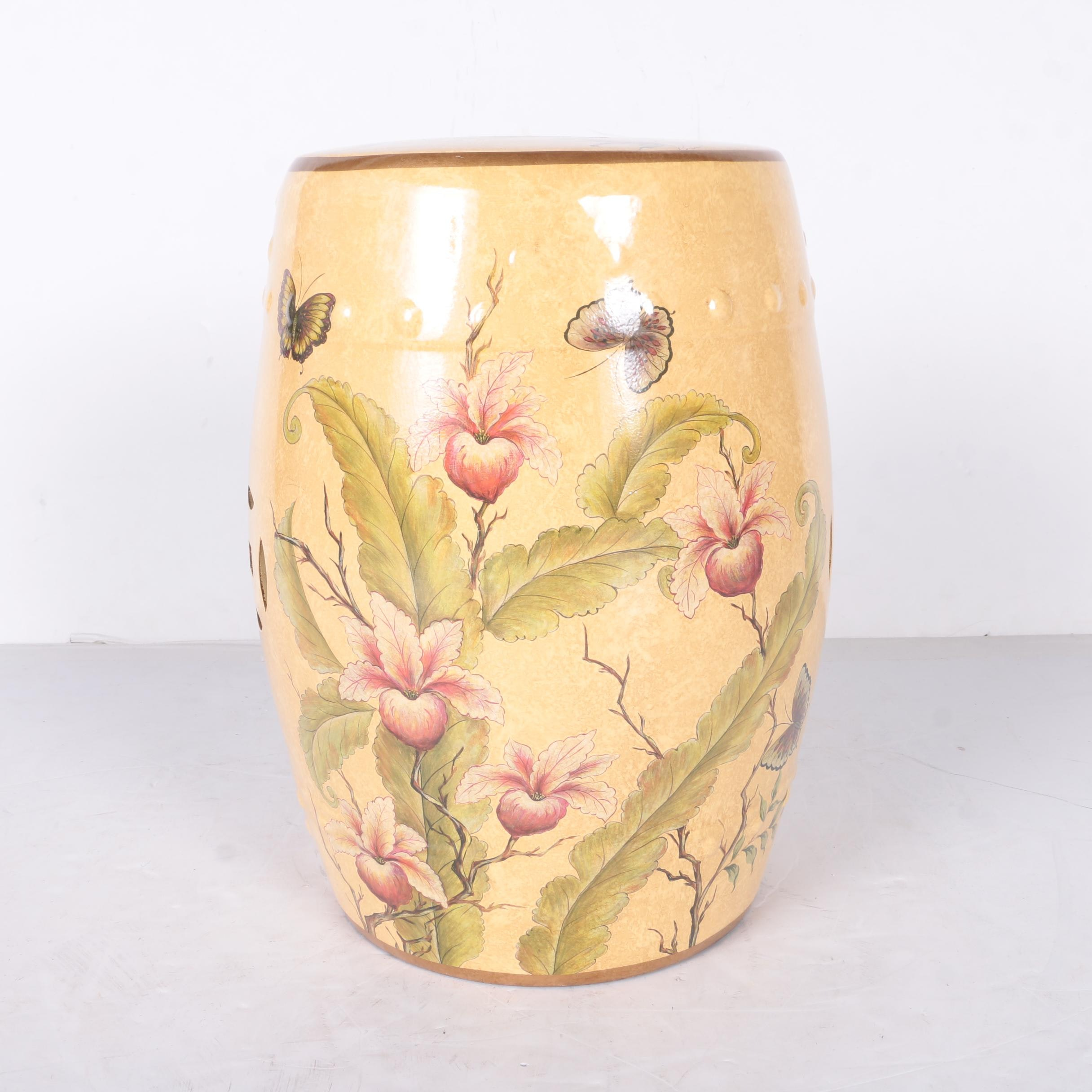 Chinese Ceramic Floral Garden Seat