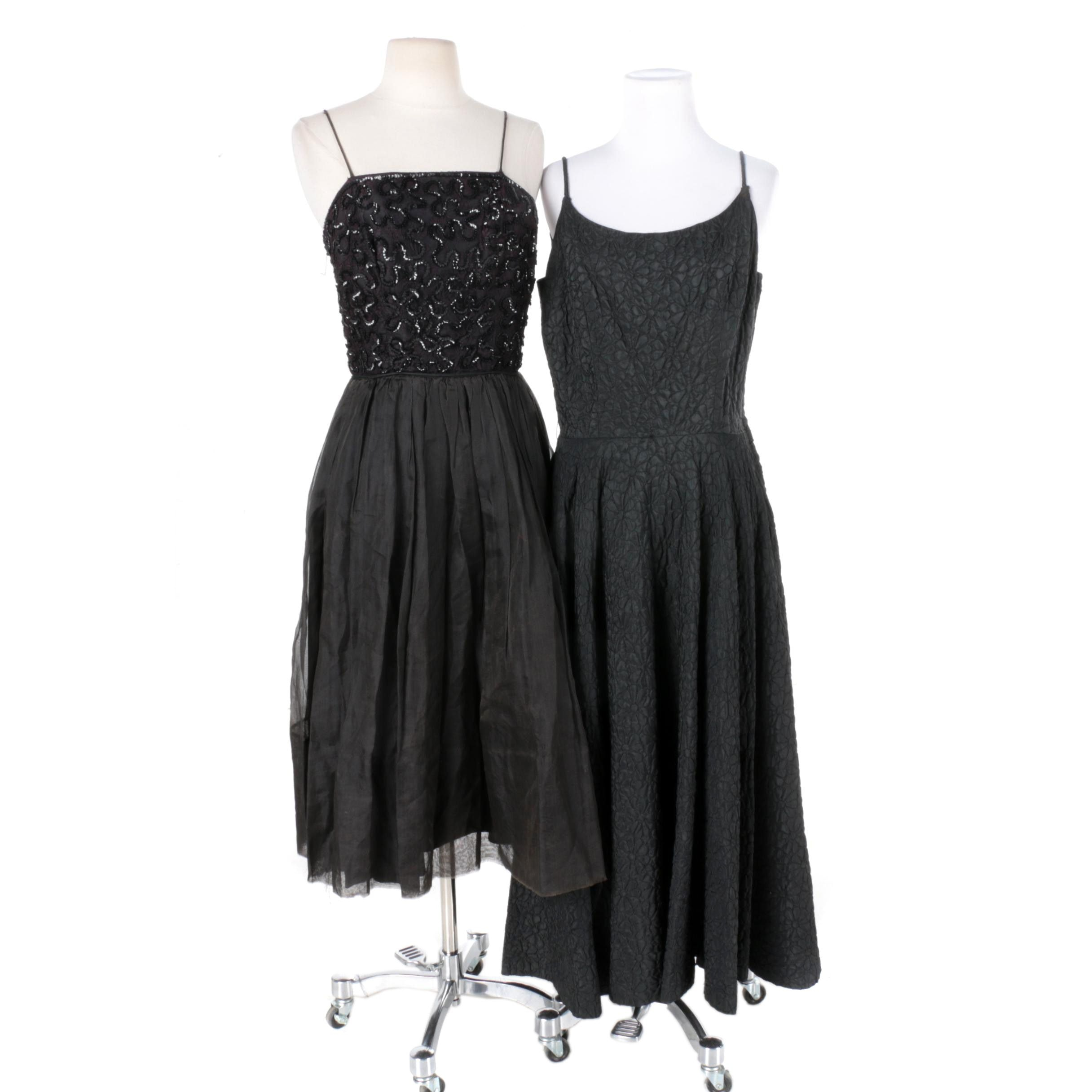 1950s Vintage Black Cocktail Dresses