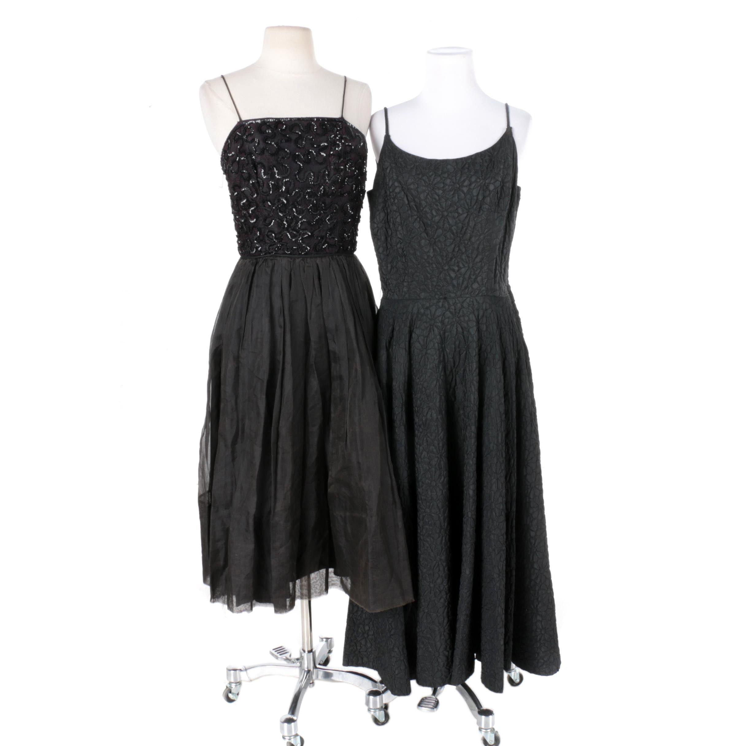 1950s Vintage Black Cocktail Dresses