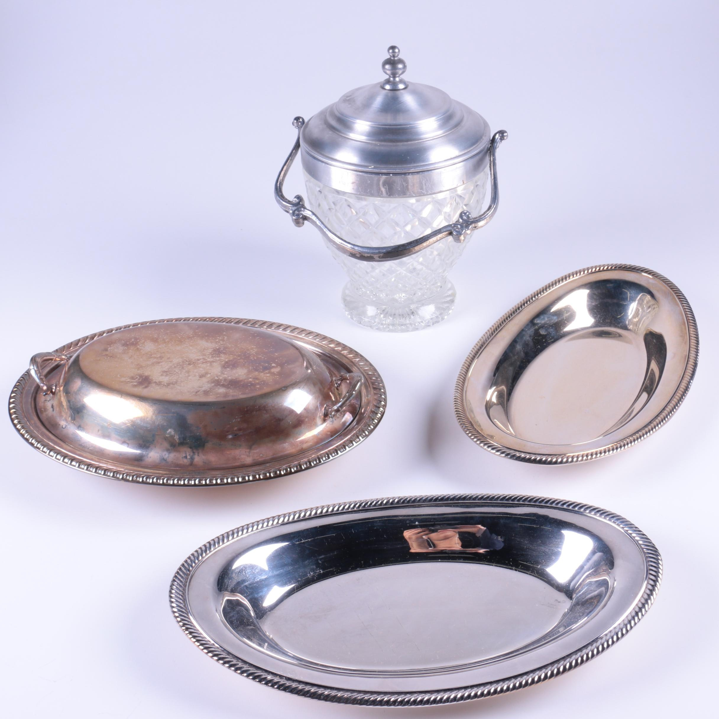 Silver Plate Serving Trays with Glass and Metal Ice Bucket