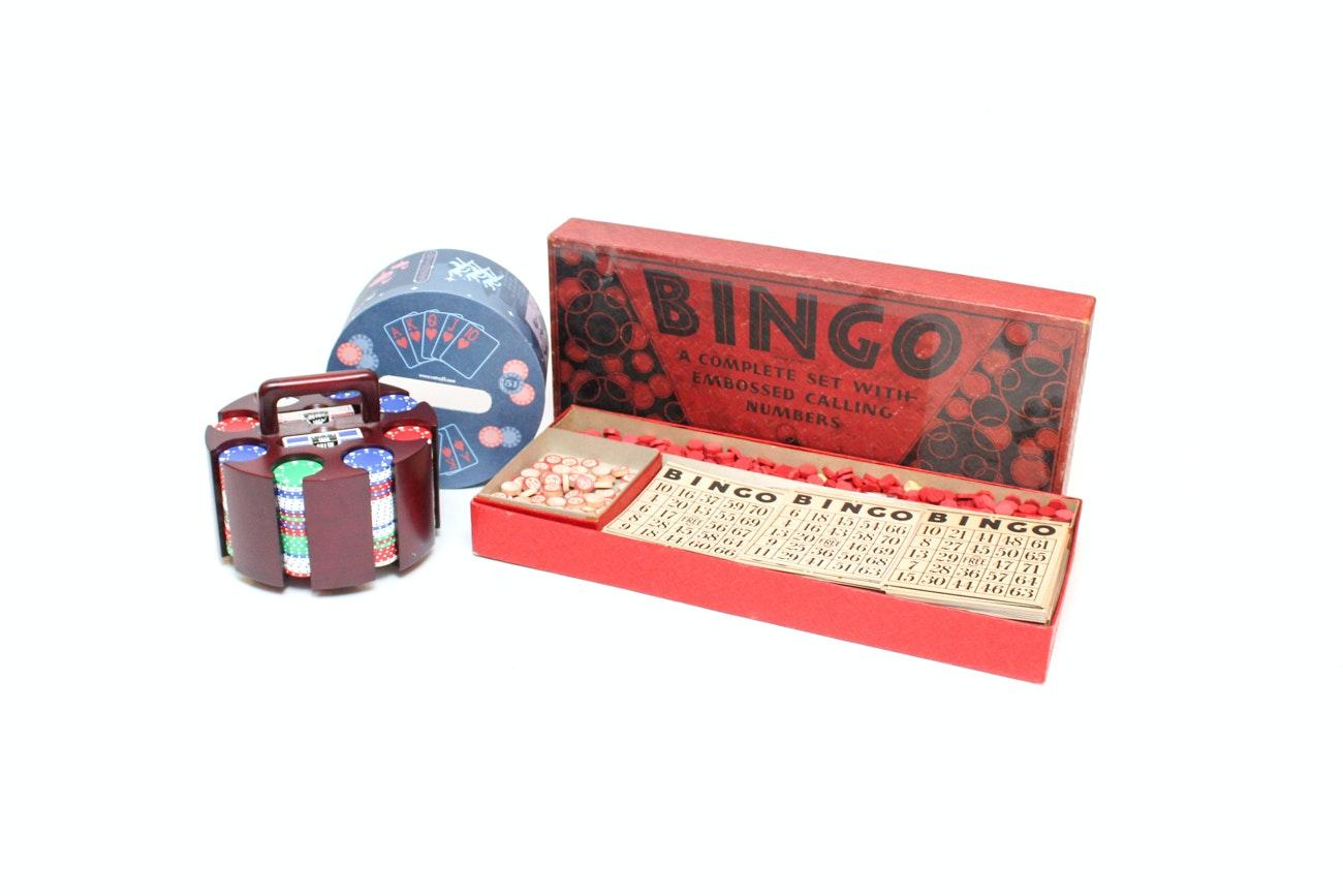 Vintage Milton Bradley Bingo Set and Poker Caddy